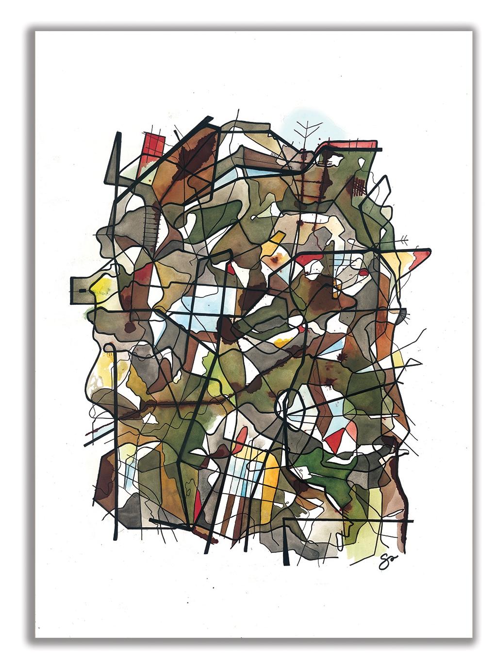 "ONE MAN'S TRASH  29"" x 40"" / Watercolor + Ink August Wilson –  Preformed by Portland Playhouse"