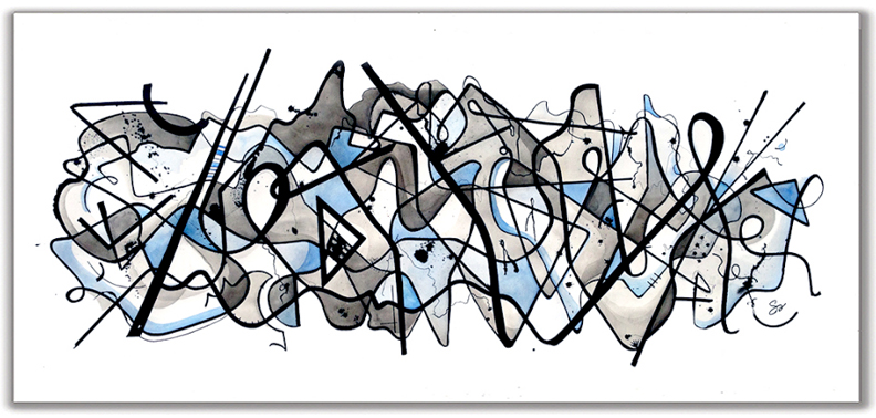 SOMETIMES ITS KINDA BLUE  28″ x 60″ Watercolor and Ink