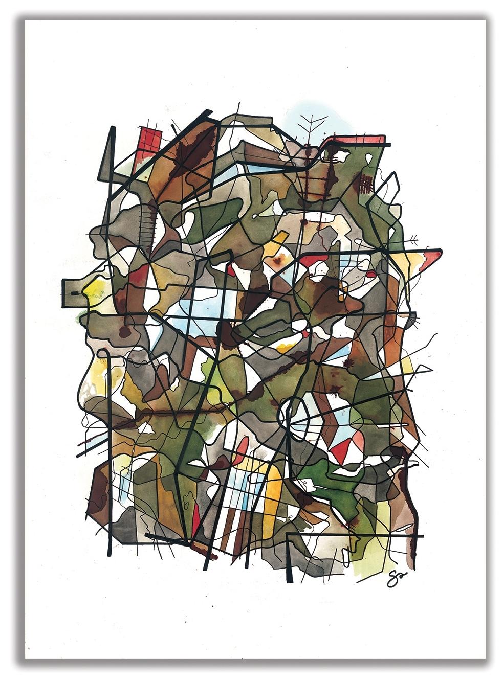 """ONE MAN'S TRASH    ARTSLANDIA  SERIES  August Wilson, Jitney / Performed by Portland Playhouse 40"""" x 29"""" / Watercolor + Ink"""
