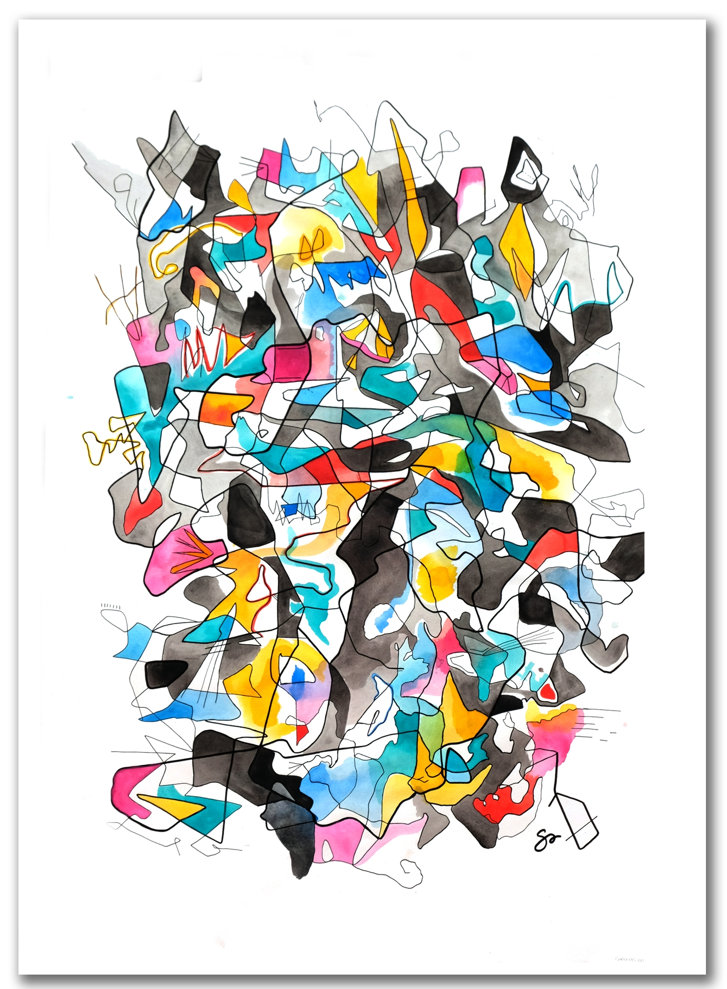 GALLOPING NEUROSIS  Watercolor + Ink 40″ x 29″
