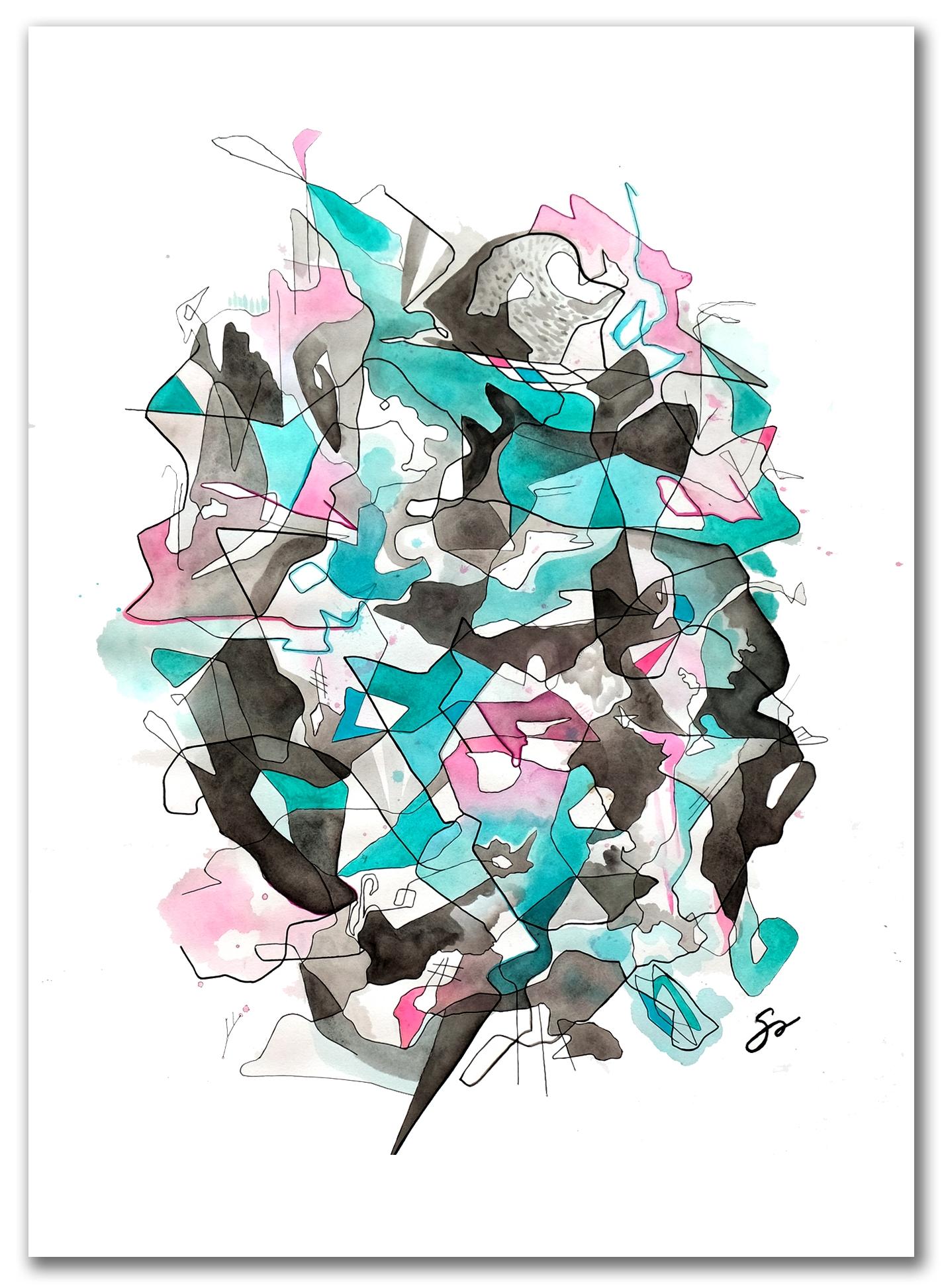 GENDER    IRRELEVANT     Watercolor + Ink 40″ x 29″