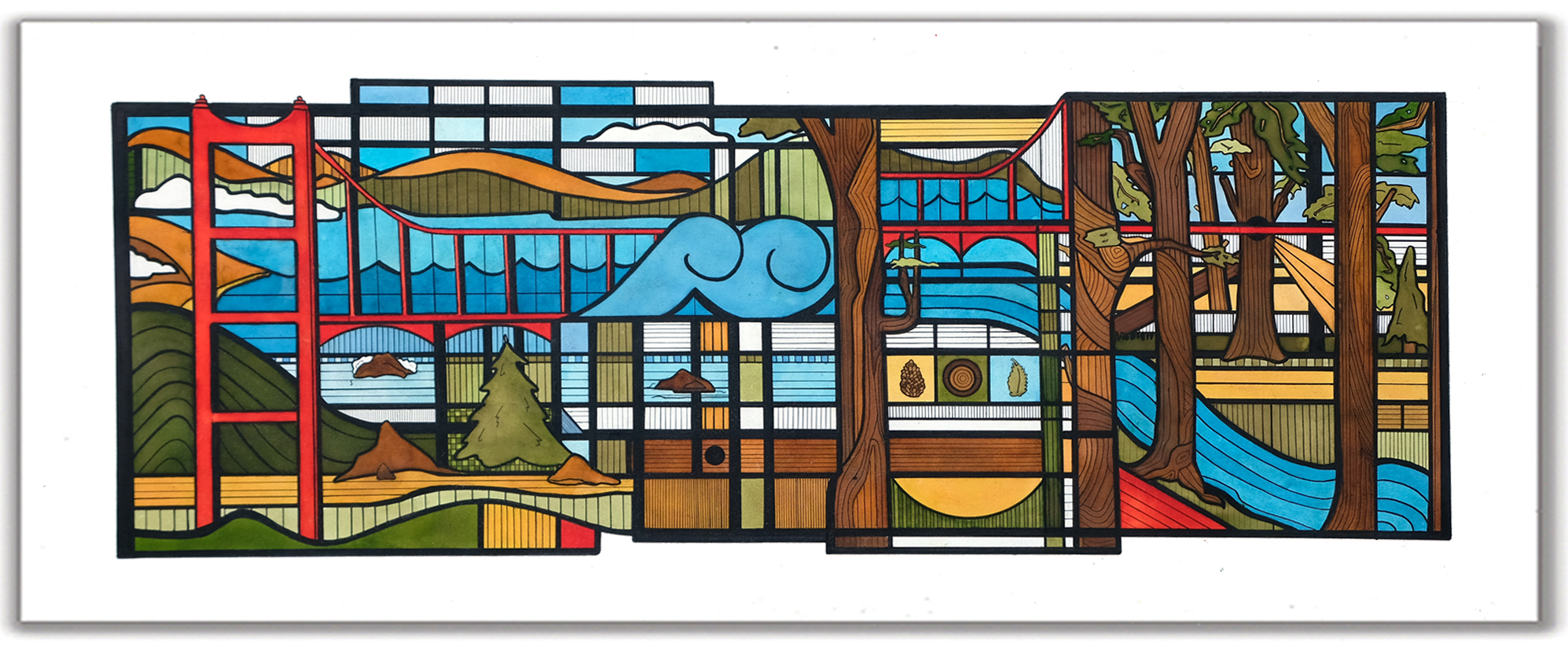N. CAL  (Commission)   28″ x 54″ /Ink + Radiant Watercolor