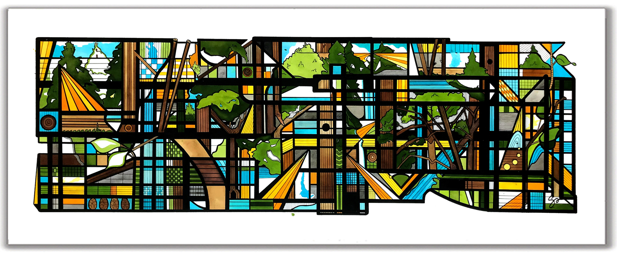 BLACK FOREST  28″ x 54″ Ink + Radiant Watercolor