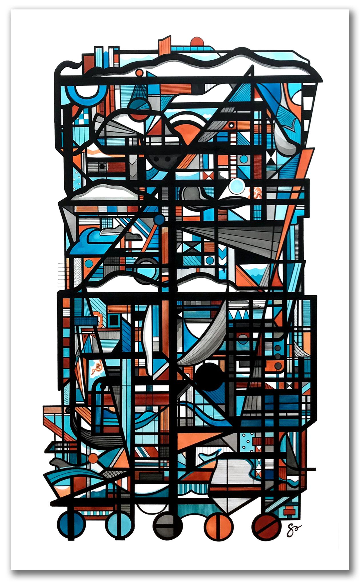 """ASTORIA  42"""" x 70″ / Ink + Radiant Watercolor"""