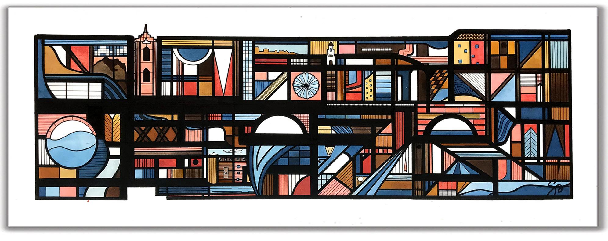 STRASBOURG  16″ x 34″ Ink + Radiant Watercolor