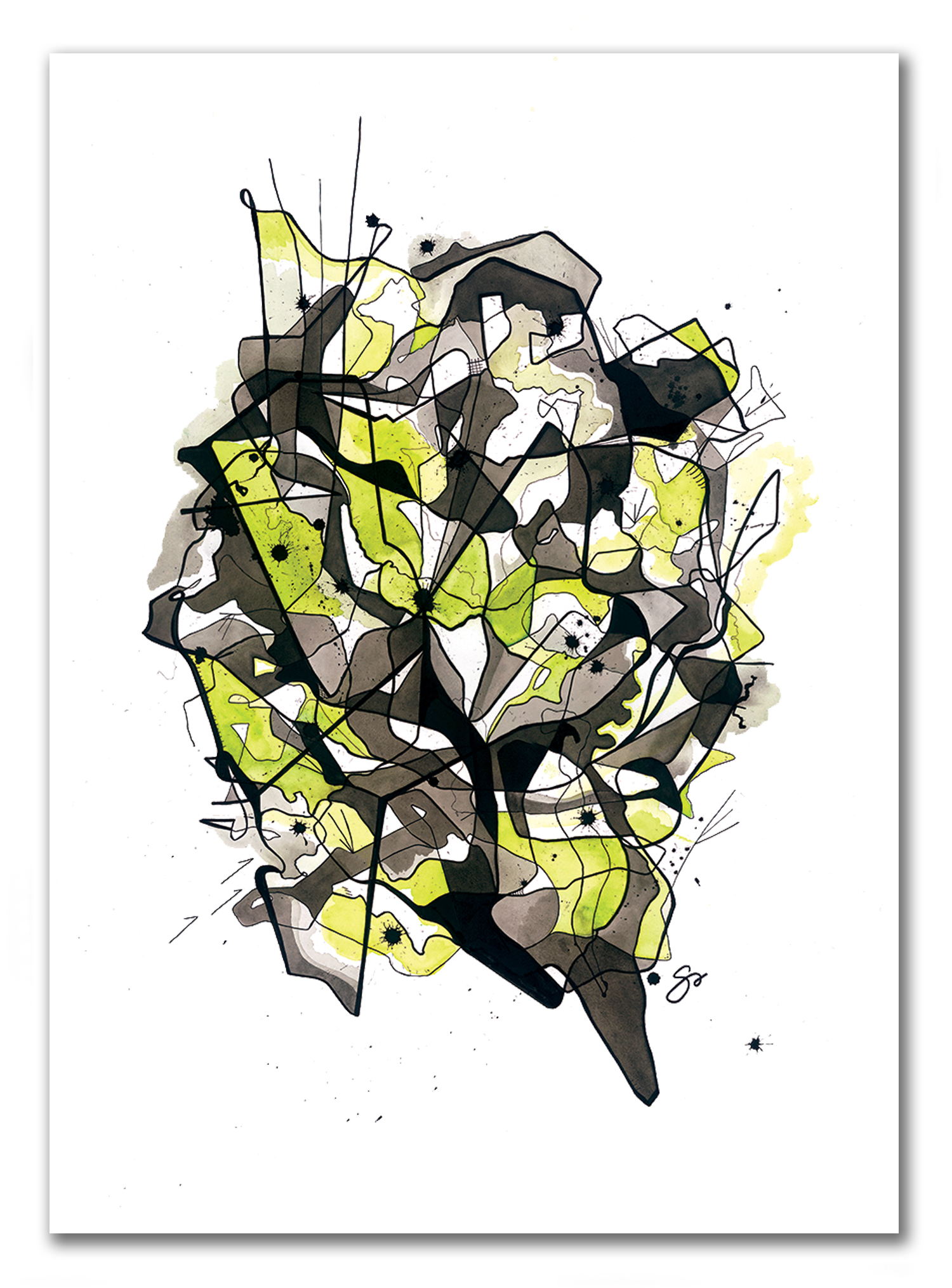 """POSSIBILITY OF PAIN  29"""" x 40"""" / Watercolor + Ink BodyVox Dance –  Music by Trent Reznor and Atticus Ross"""