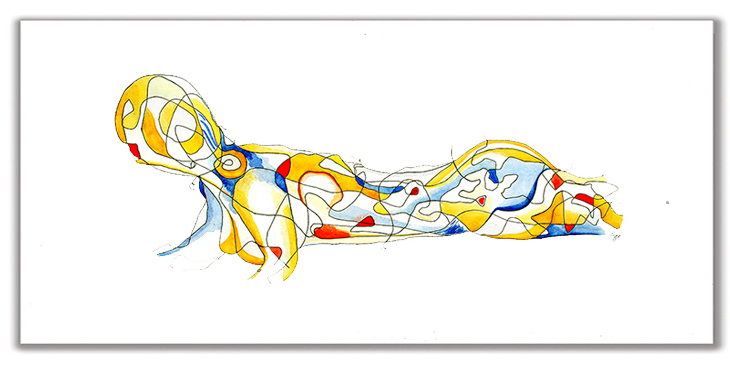 PLEASE DON'T LOOK AT ME THIS WAY  19″ x 30″ Watercolor + Ink