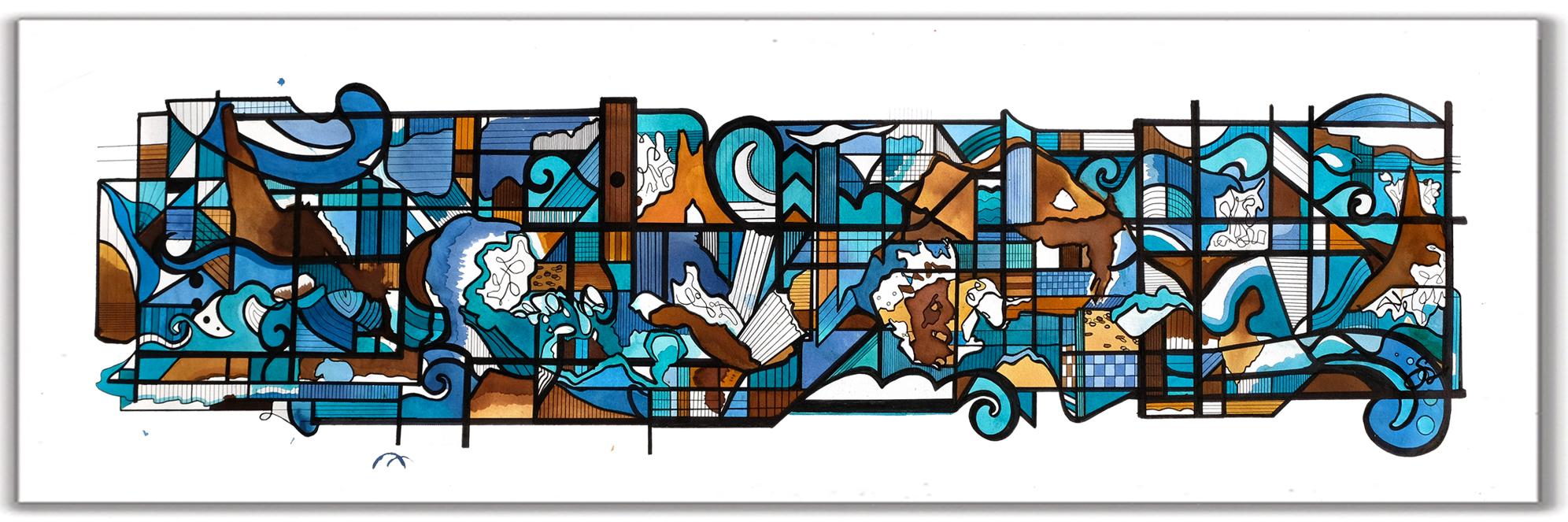 """OCEANSIDE  15"""" x 52"""" Ink + Radiant Watercolor"""