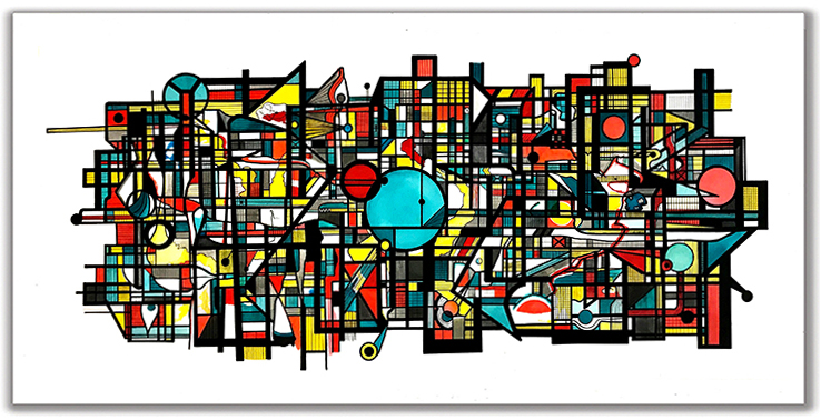 TIME PASSING  Ink + Radiant Watercolor 36″ X 68″