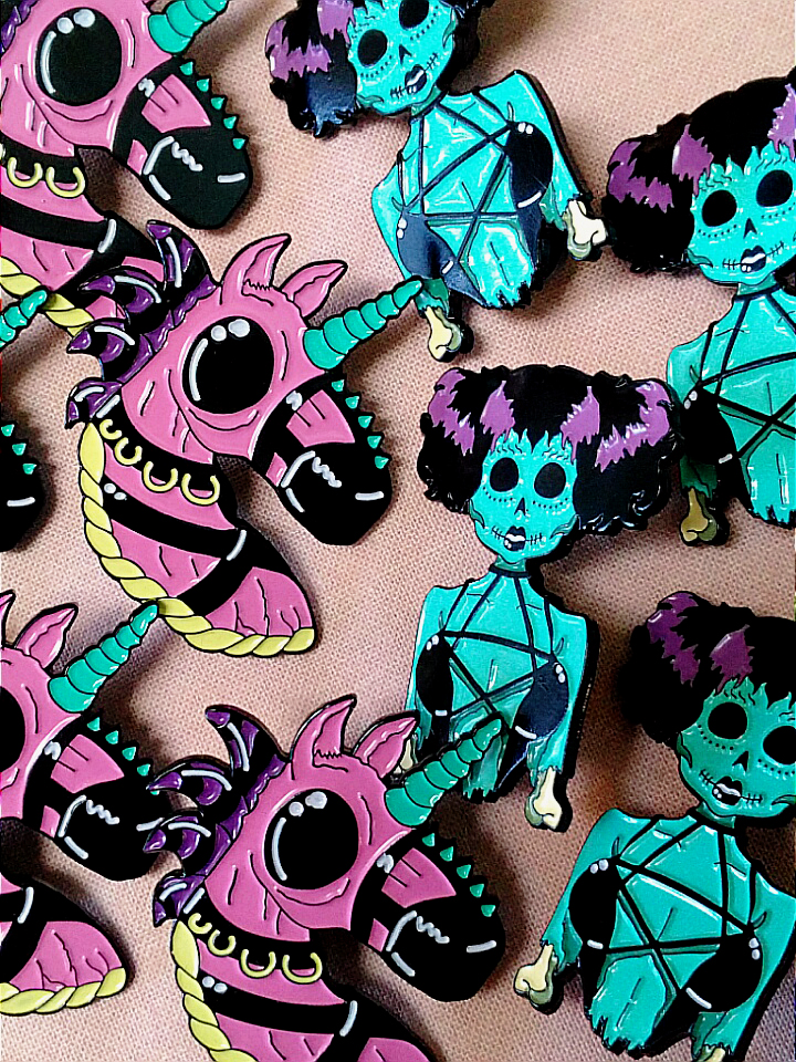 unicorn zombie enamel pin - victoria pittman.jpg