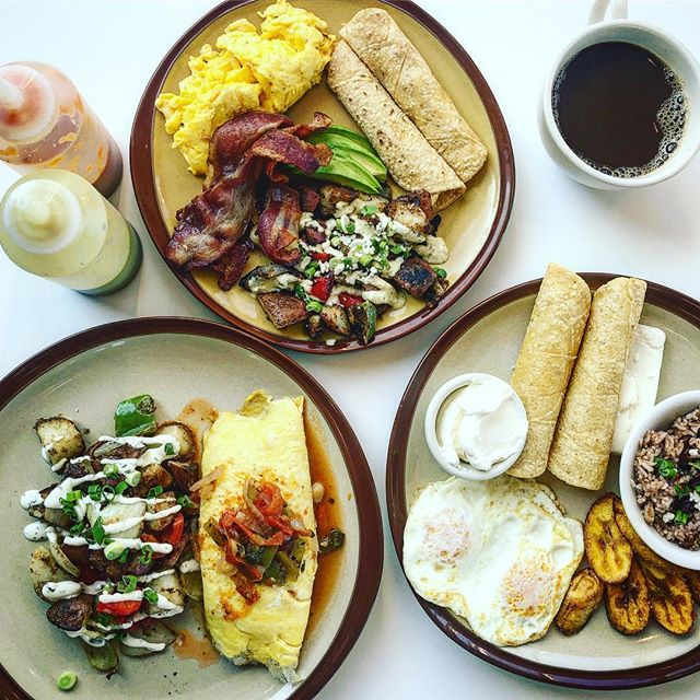 Proudly serving #breakfastallday at ten on the weekends. Show the front this ad to receive half off on Our spin on a traditional Nicaraguan breakfast through the end of the year! #platonicoya #latinstreetfood #satisfying
