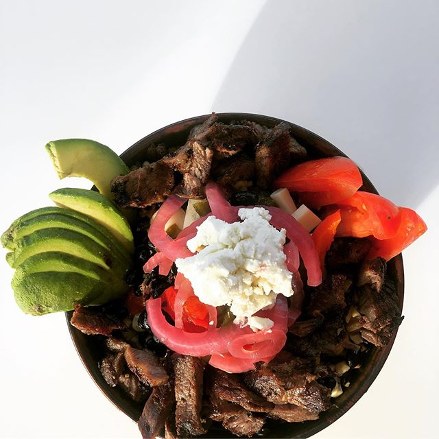 We added #steak to our #powerfood rich Poblano #quinoabowl