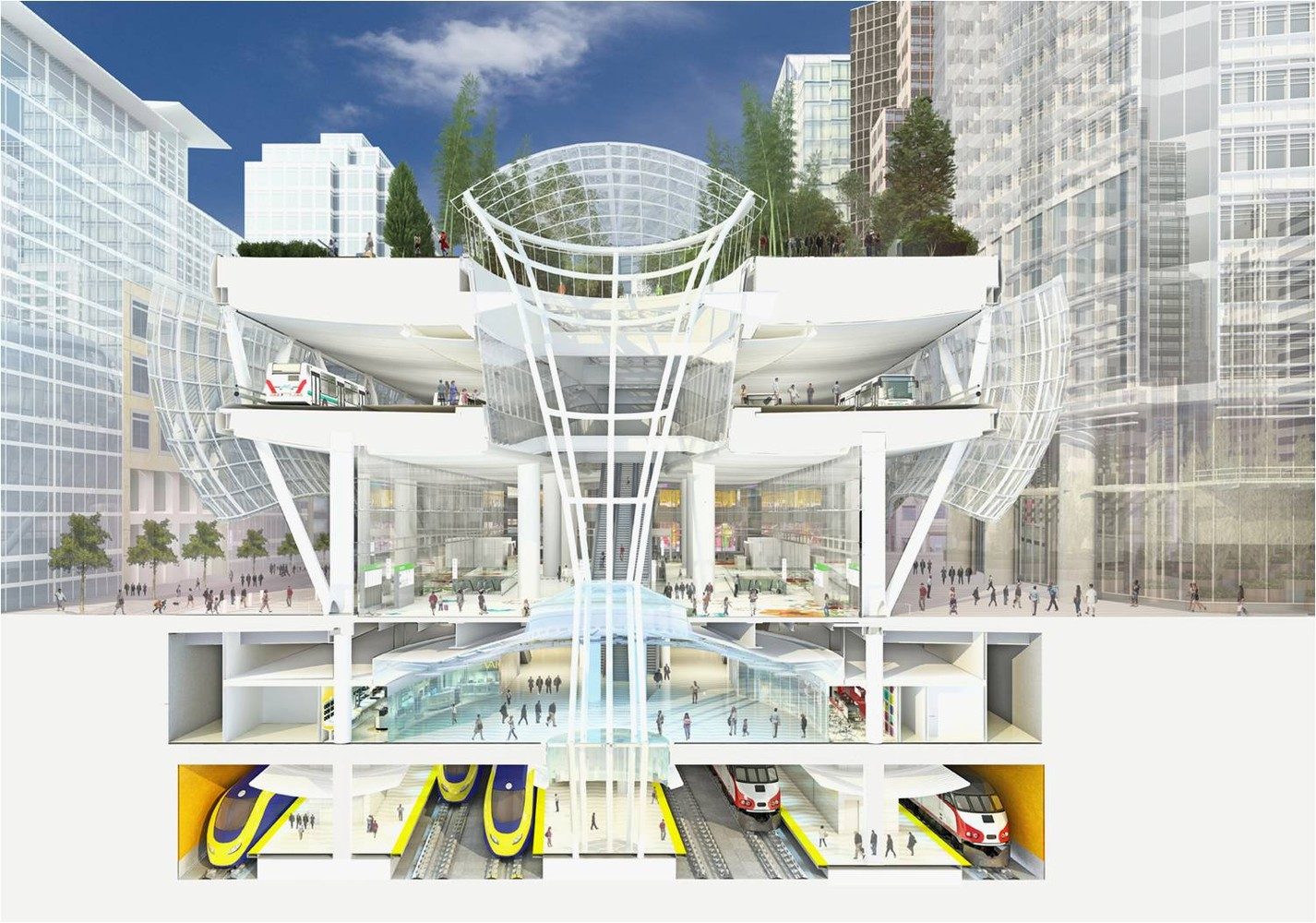 Rendering of Transbay Transit Center Grand Hall; project architect: Pelli Clarke Pelli. Image: Transbay Joint Powers Authority (TJPA)