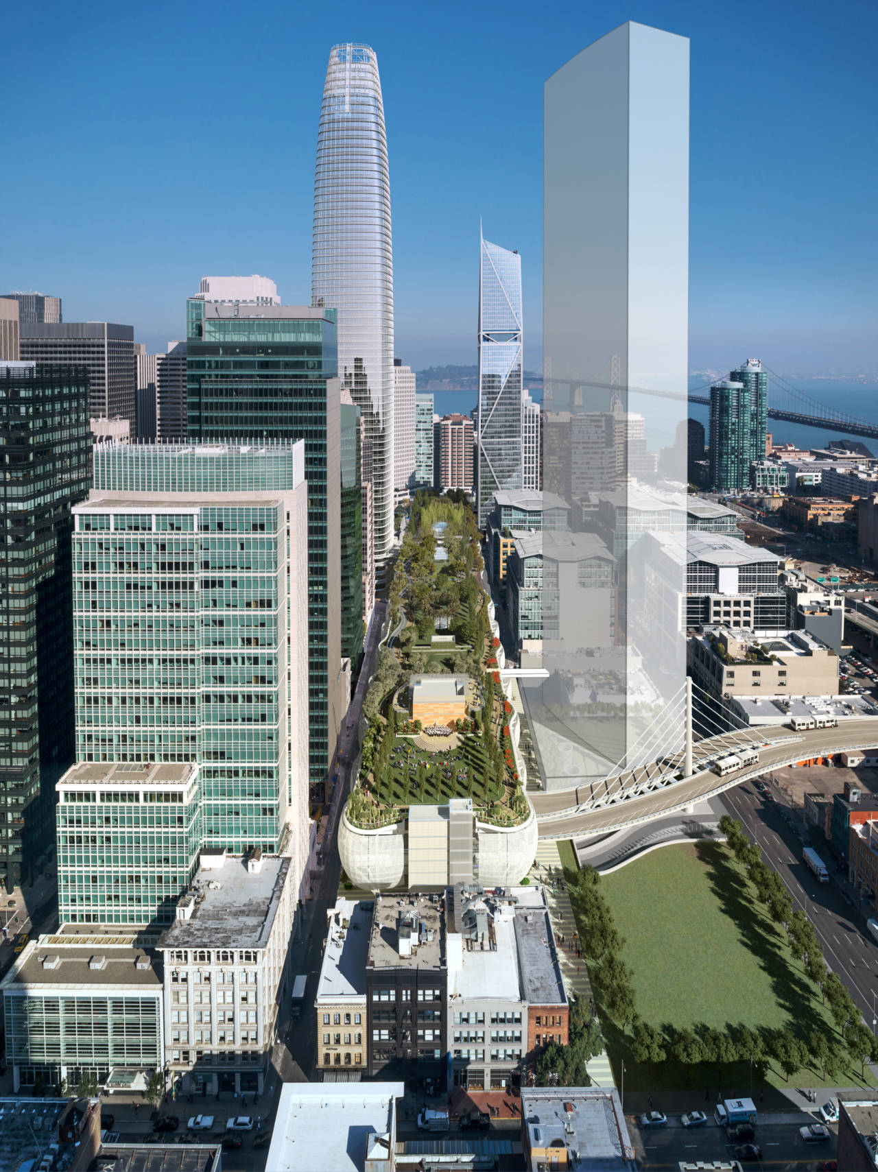 Rendering of finished facility showing rooftop park; project architect: Pelli Clarke Pelli. Image: TJPA