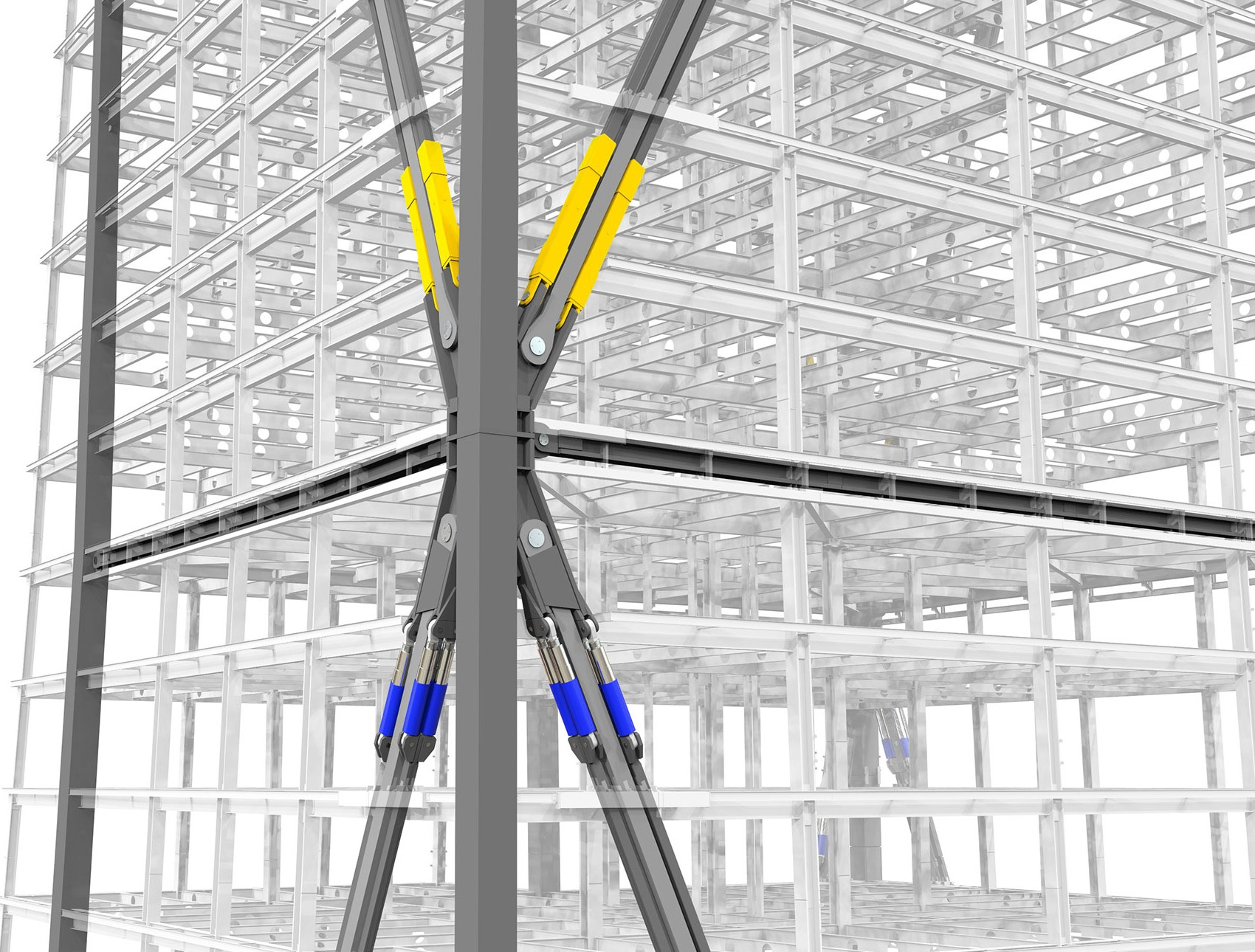 Rendering of northwest meganode on the 20th story of 181 Fremont. The viscous dampers, shown in blue, control the rate at which the megabrace stretches and compresses.