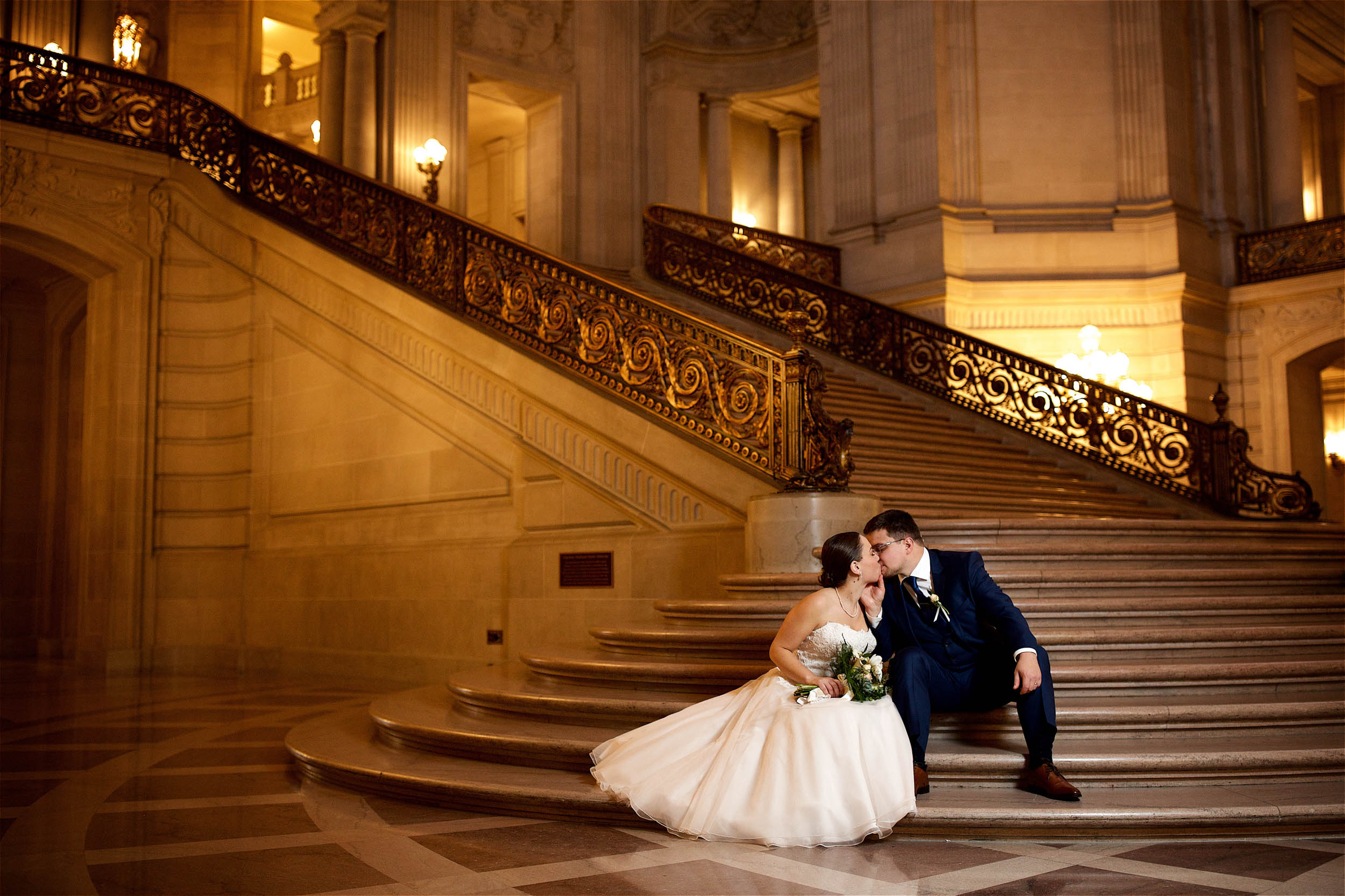 San Francisco City Hall staircase wedding photo