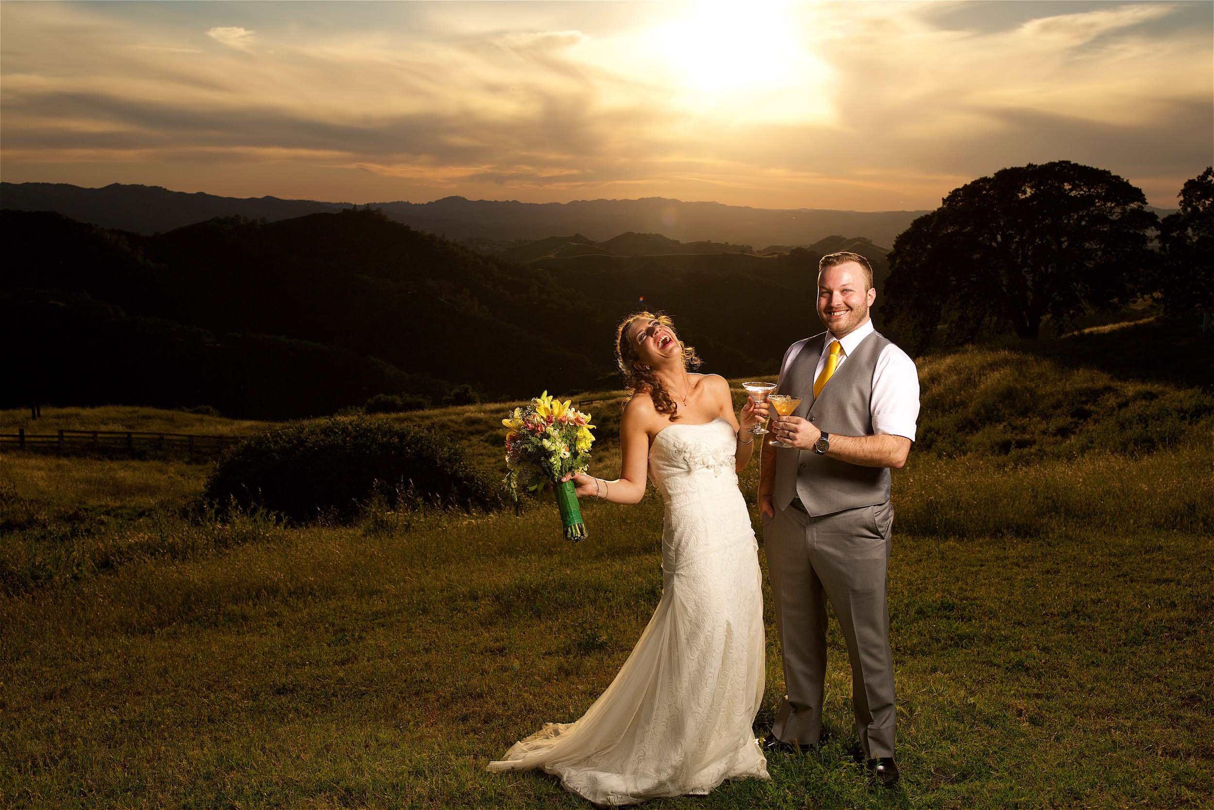 Bride and Groom drinking champagne at their wedding at Diablo Valley Ranch in Walnut Creek