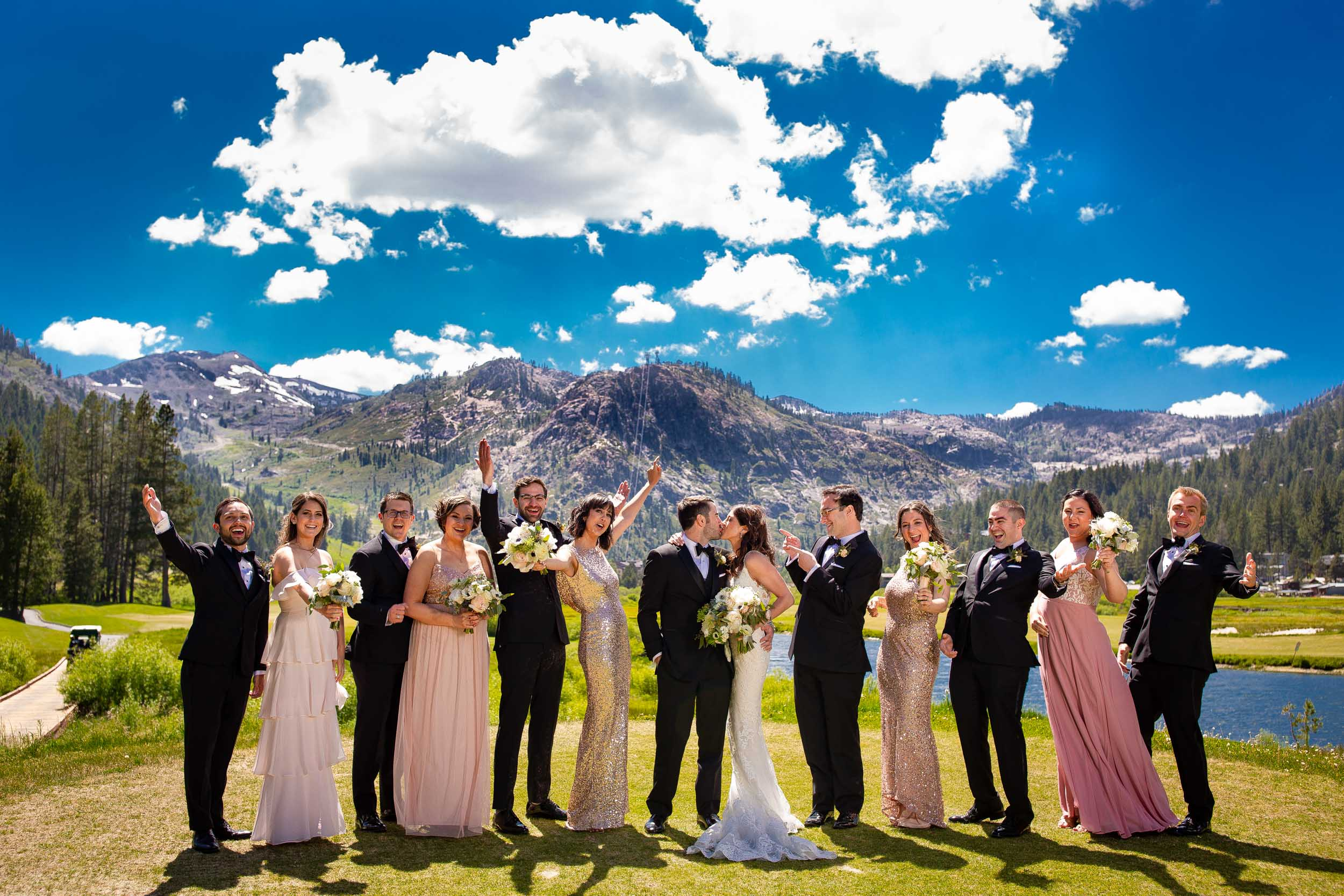 Bridal party photo at a Squaw Valley wedding in the Mountains of Lake Tahoe
