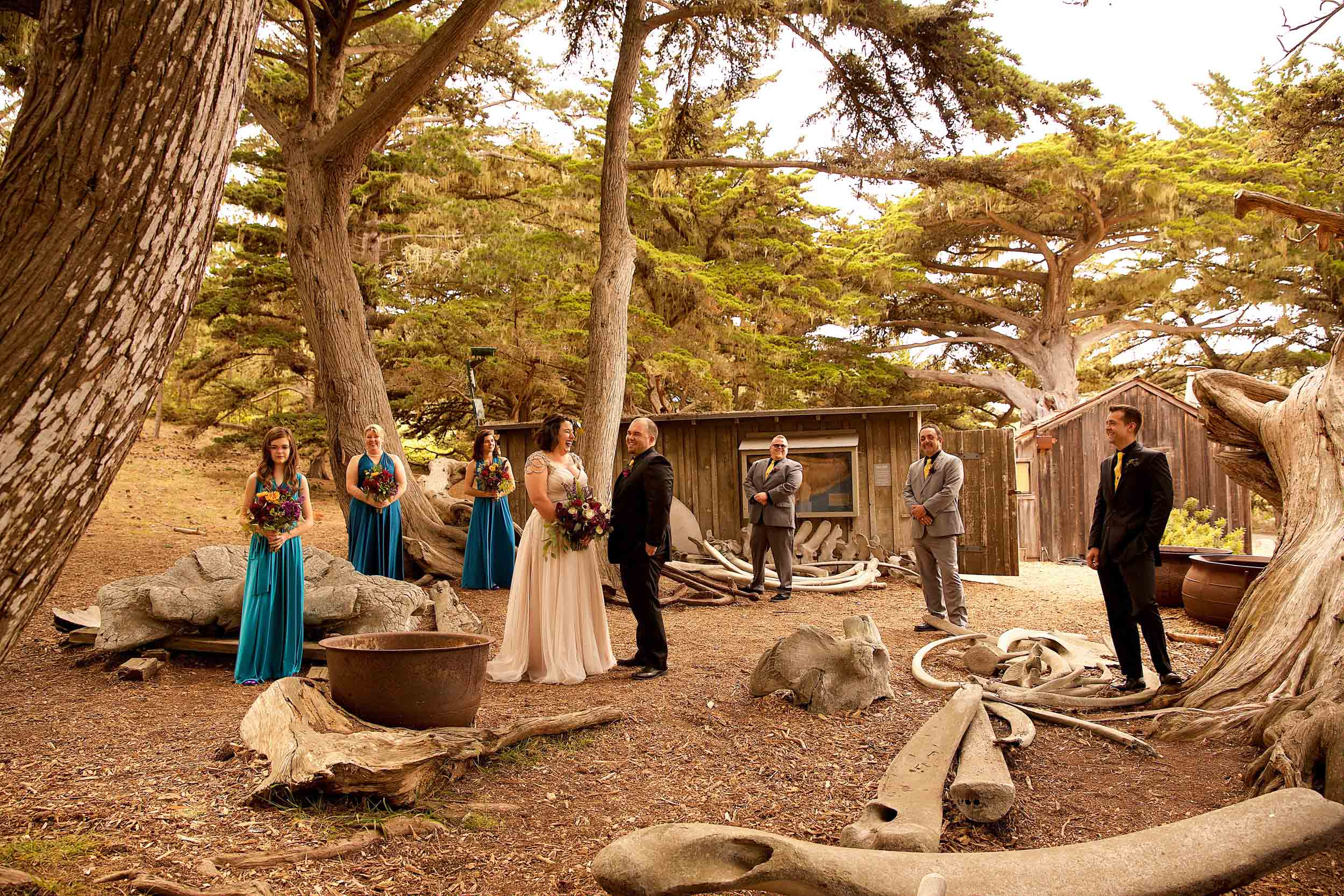 Bridal-party-laughing-in-front-of-Point-Lobos-whale-bones
