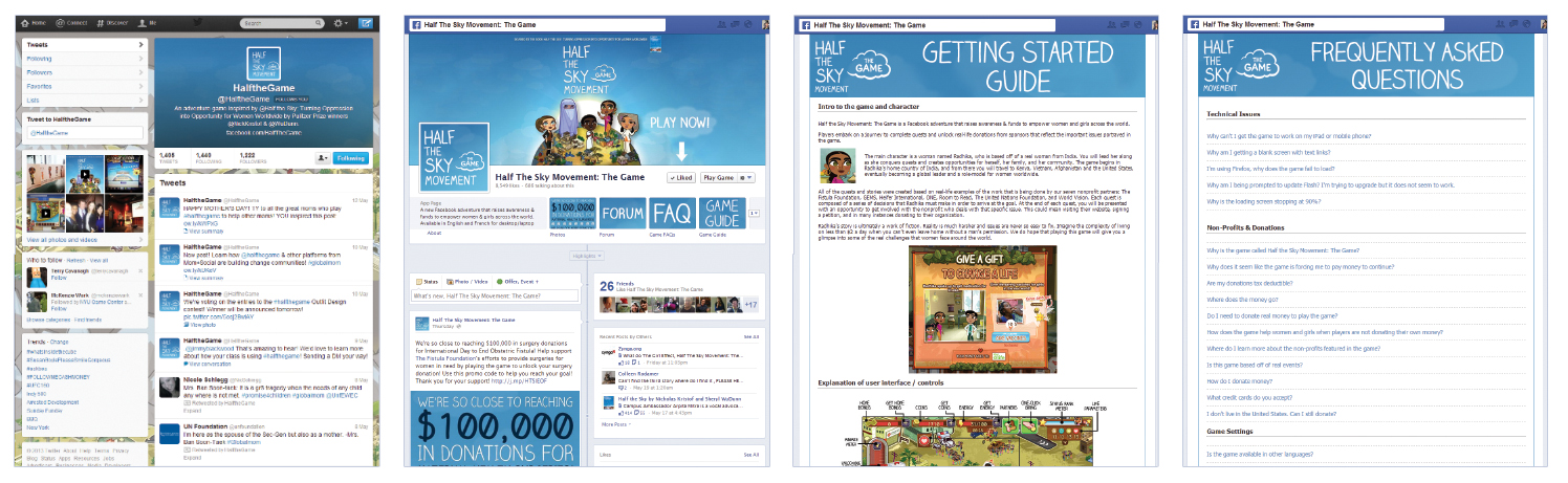 Layout designs for the game's social media pages and player guides.