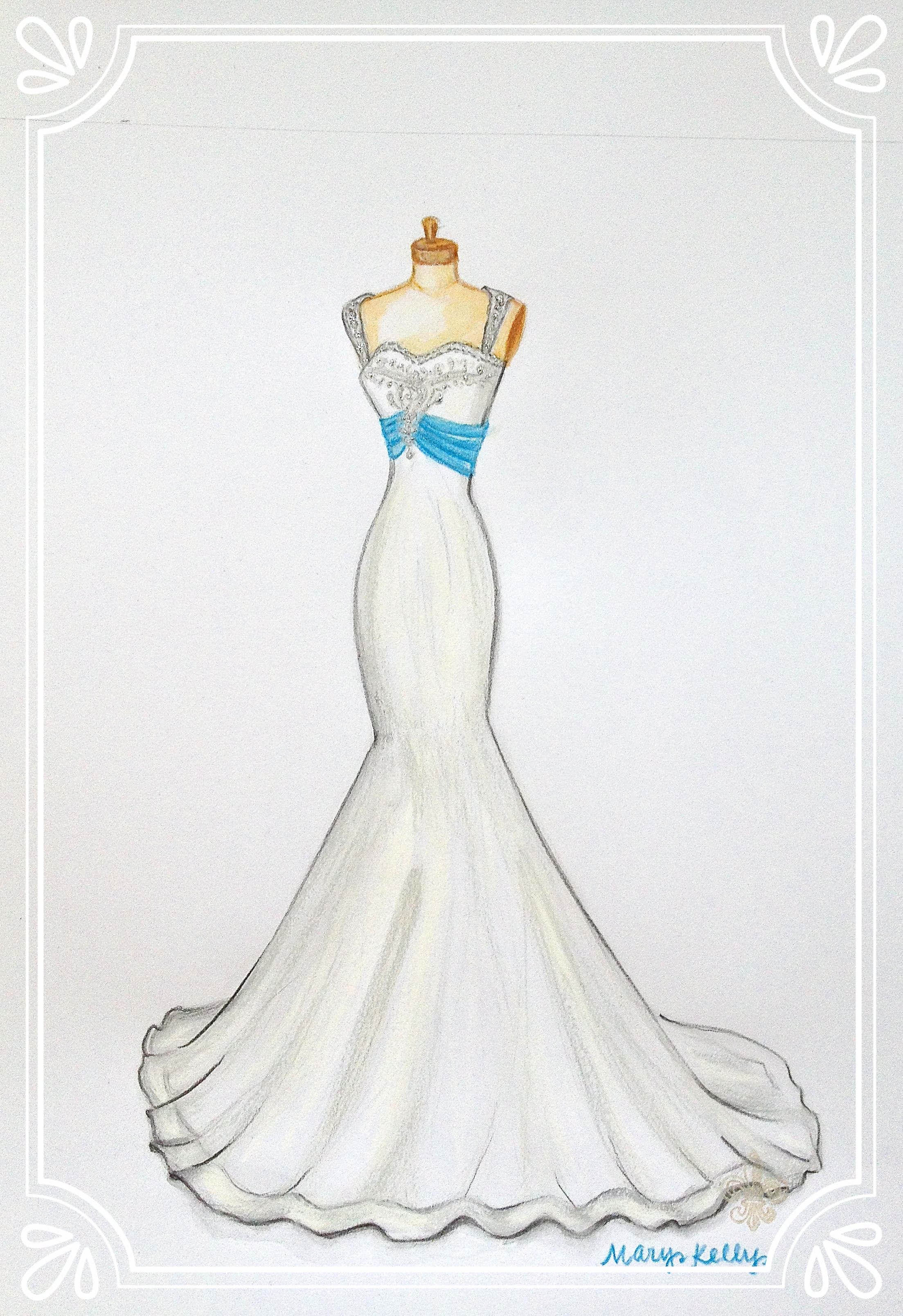 gown with blue sash, © 2019 marykellydesigns