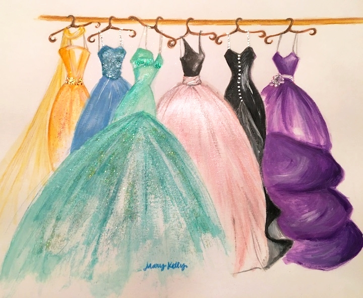 closet of fashion gowns, © 2019 marykellydesigns