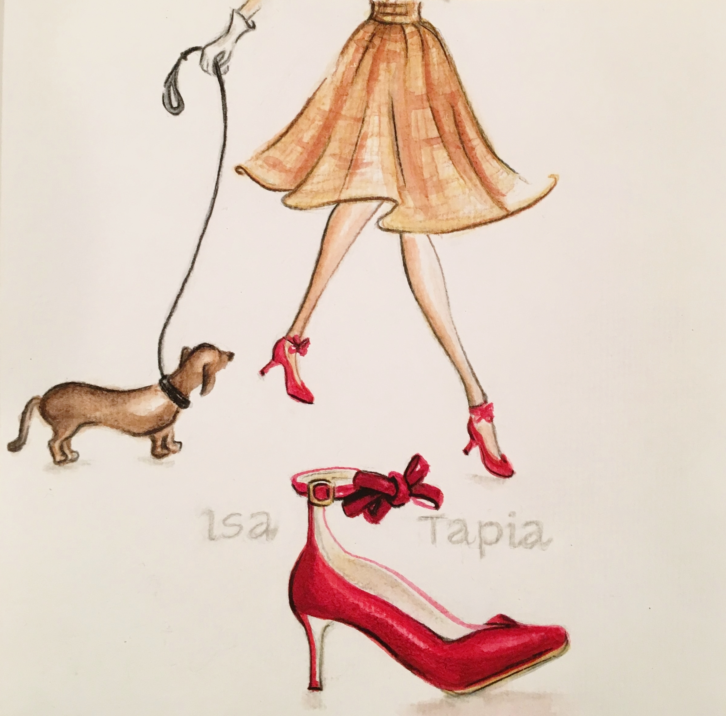 red shoe with bow, © 2019 marykellydesigns