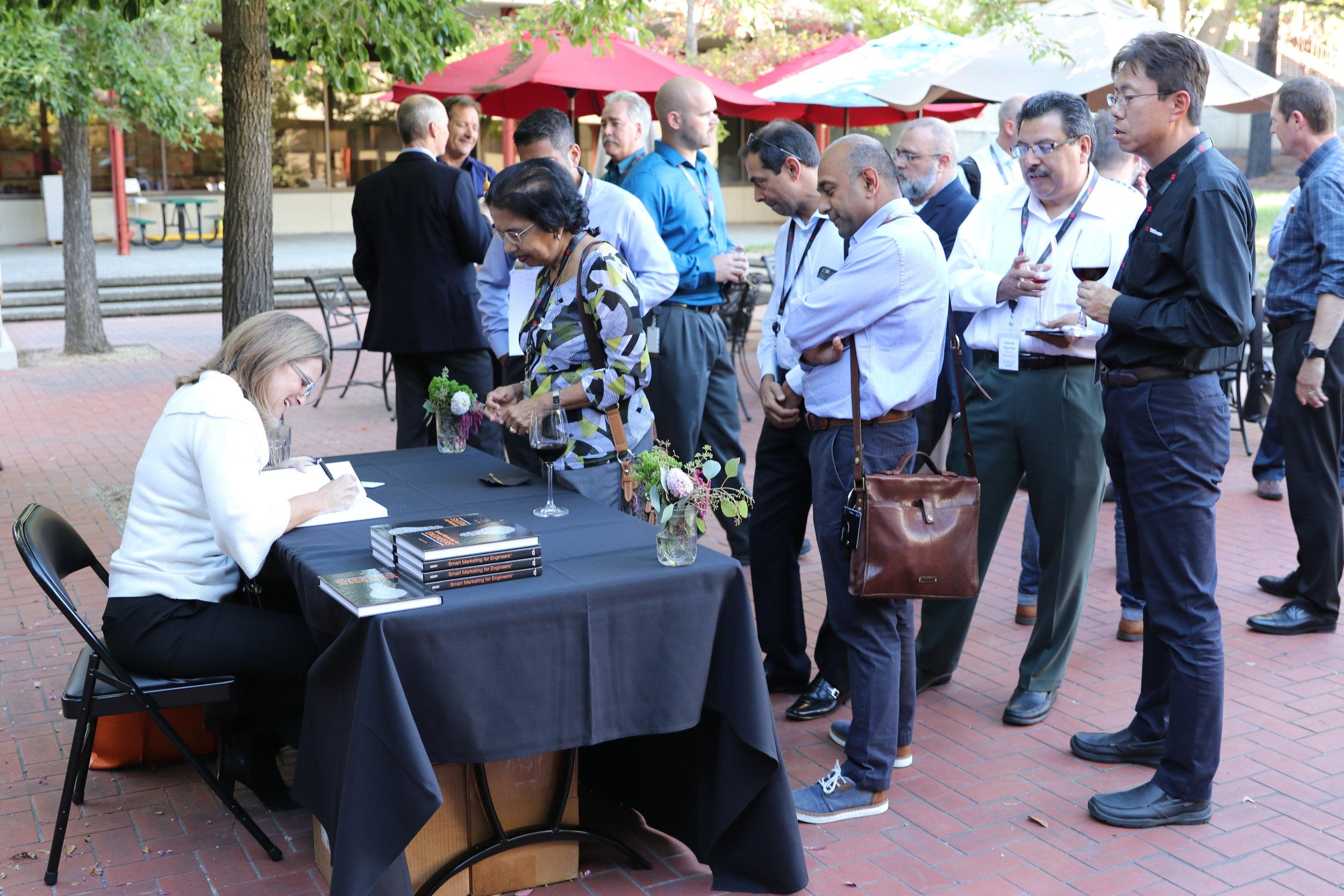 Book signing on the patio at Keysight Technologies HQ in Santa Rosa, CA.