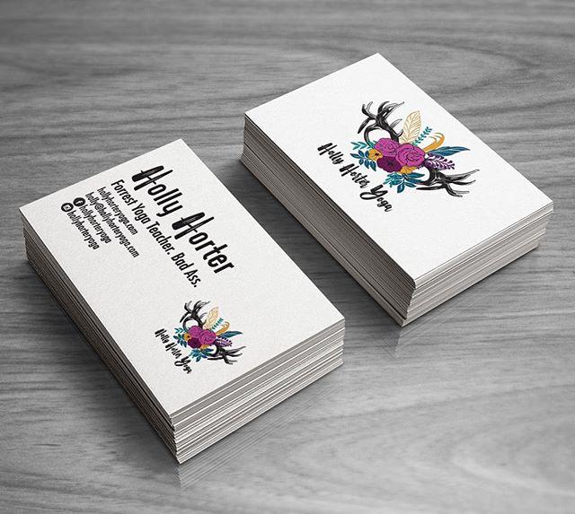 Logo and business card design for @hollyhorteryoga . Holly had a great logo idea and We were able to create a great vector version so she will be able to easily use it on marketing merchandise. #yogalogo #branding #logodesign #businesscards #graphicdesign #denverdesign #boutiquedesignstudio #treatyoself #yogaerryday #flowers #deerantler #colorsofautumn #logosdenver #denverlogos #coloradologos #cactusbear
