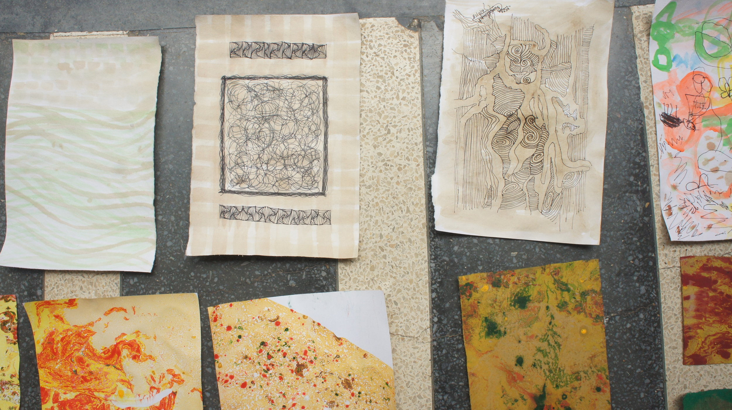Wash and Marbling - What an exciting way to spend the weekend!
