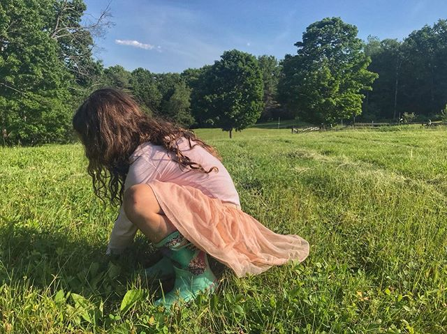 I mean... how else would you dress to #climb fences and dig through horse fields for wild strawberries? 🥰 👩‍🌾 🐴 👑 #middlechild  #nowthisissummer  #farmgirl #farmkid  #stronggirls #momofgirls #raisingstronggirls #girls #daughters  #vermontlife #vermont #newenglandfarm #newengland  #wild #getoutside #summer #summerdays #wildchild
