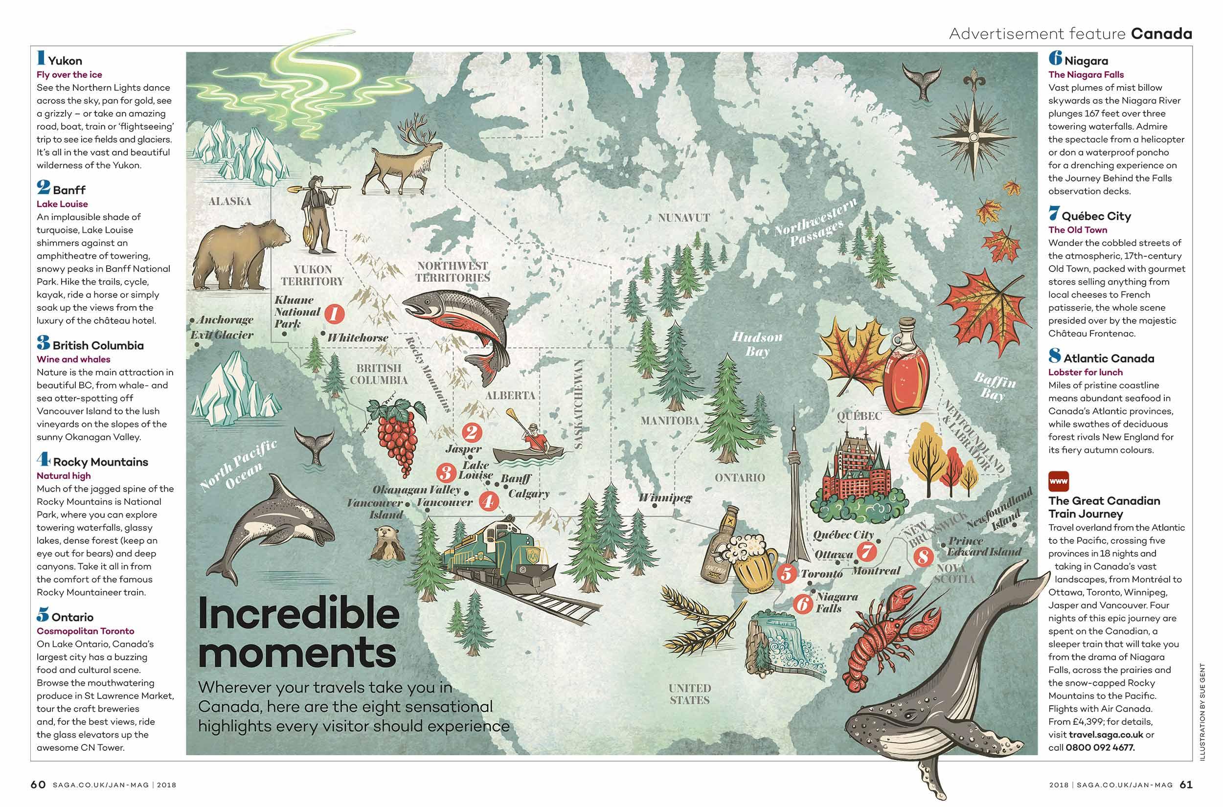 Lush Canada Map Map of Canada — Sue Gent Illustration