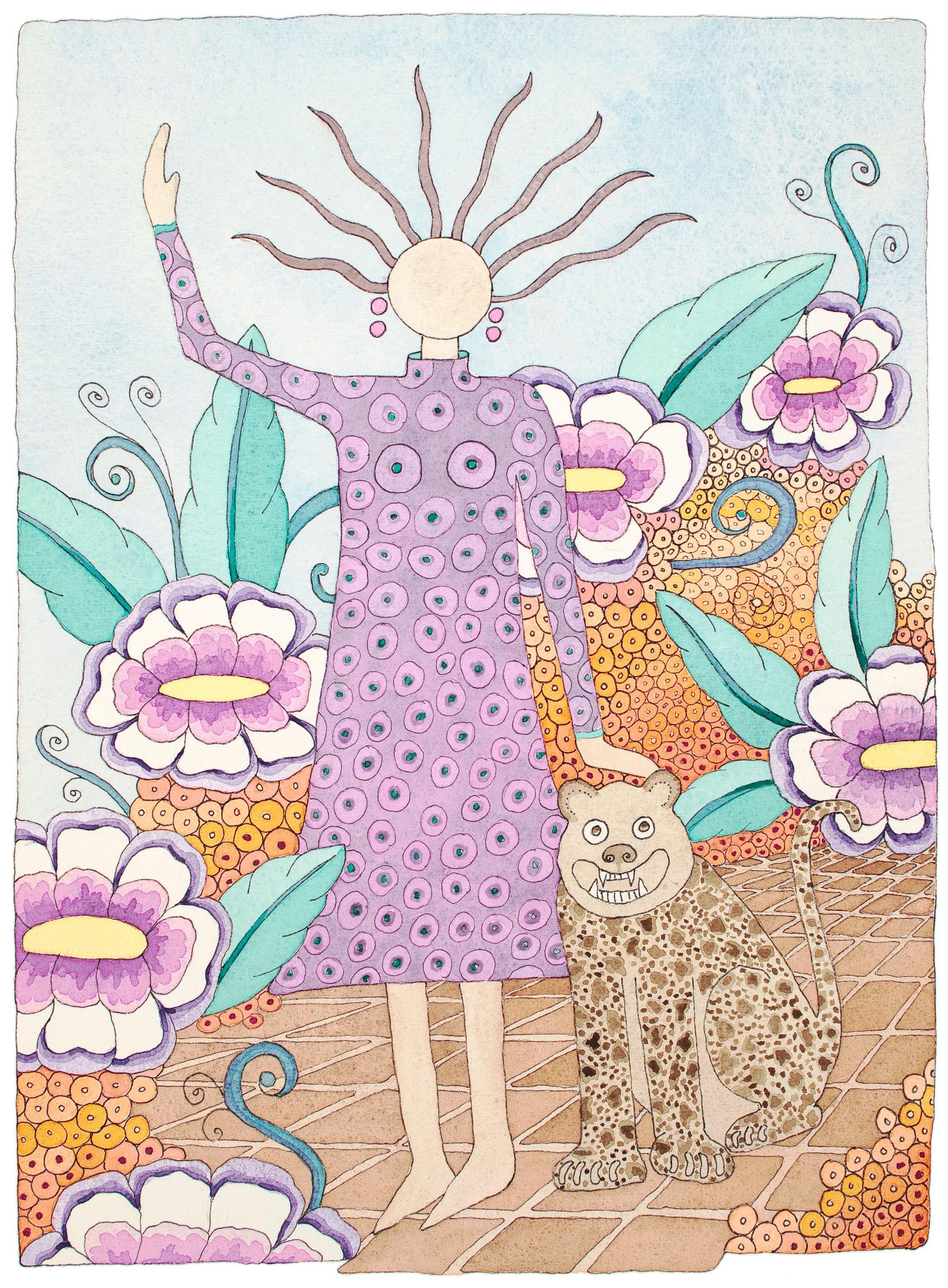 """""""Lady in the Garden""""    Water Color Giclee.........8""""X10"""".......$60.00"""
