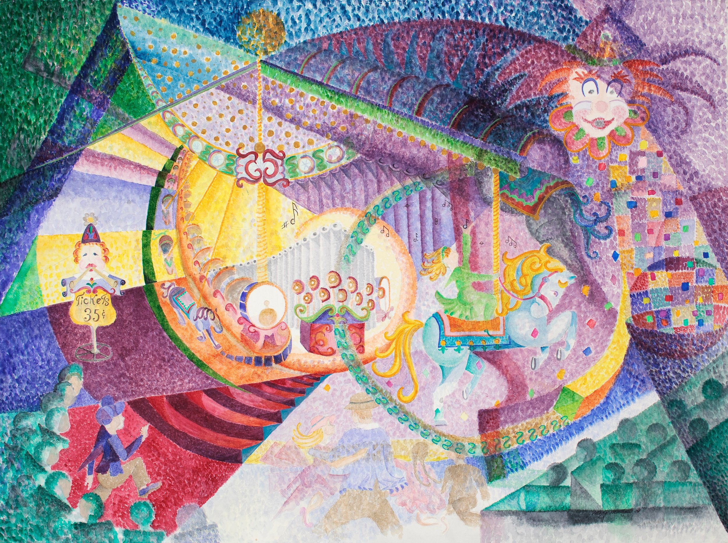"""""""The Merry-Go-Round at the Santa Cruz Boardwalk""""    Water Color Giclee.......8""""X10""""........$60.00    By Molly Milligan"""