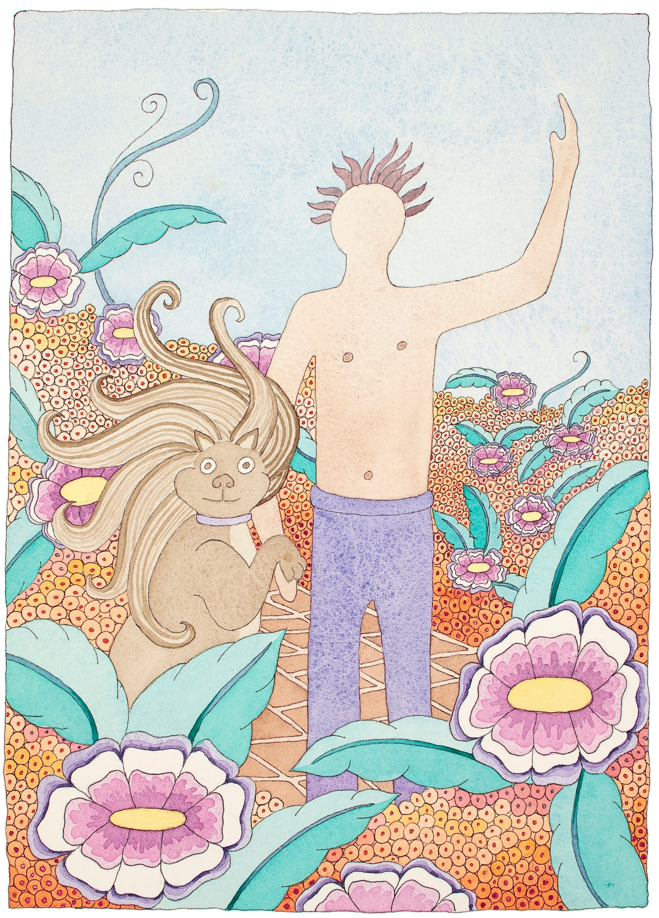 """""""Man in the Garden""""    Water Color Giclee...........8""""X10"""".........$60.00    by Molly Milligan"""