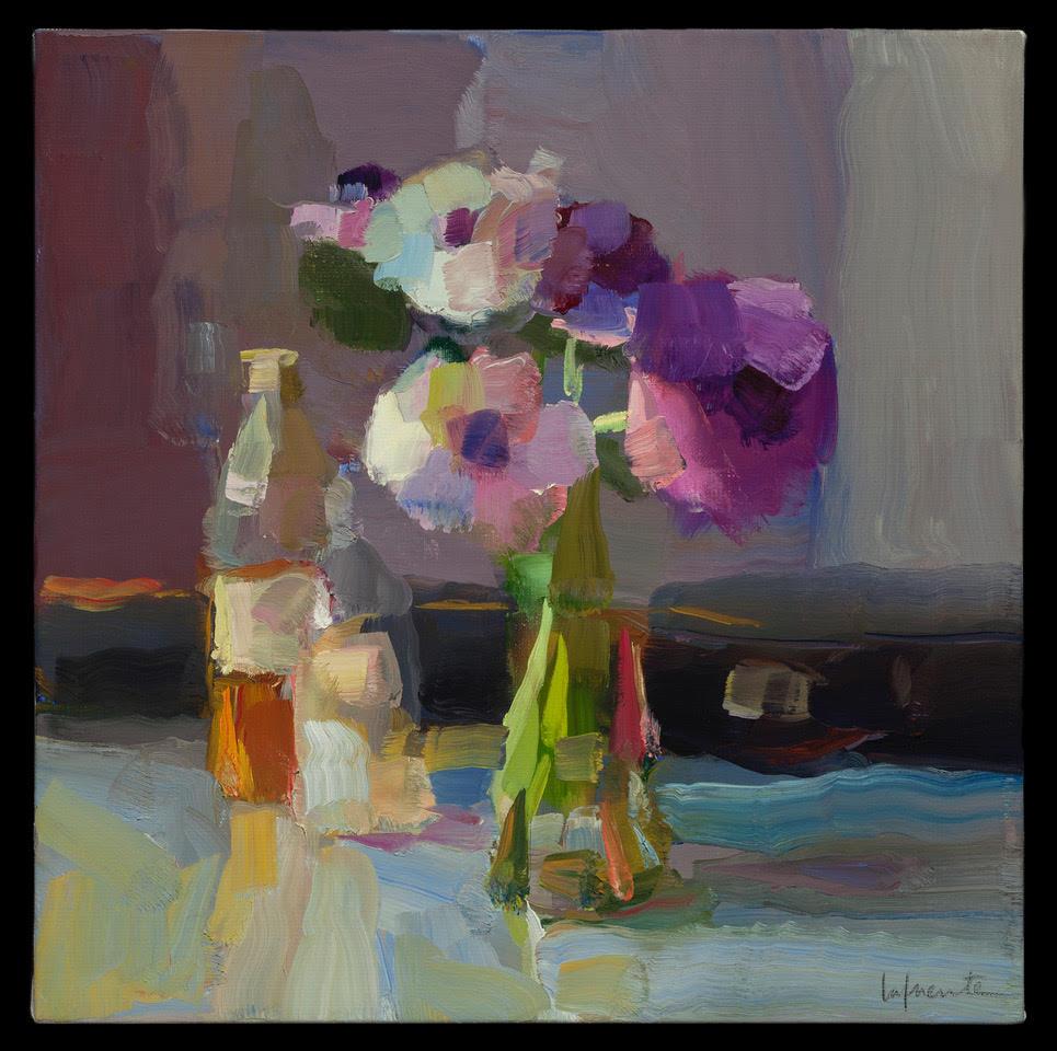 Christine Lafuente's Anemones, Bottles and Violin Case.jpg