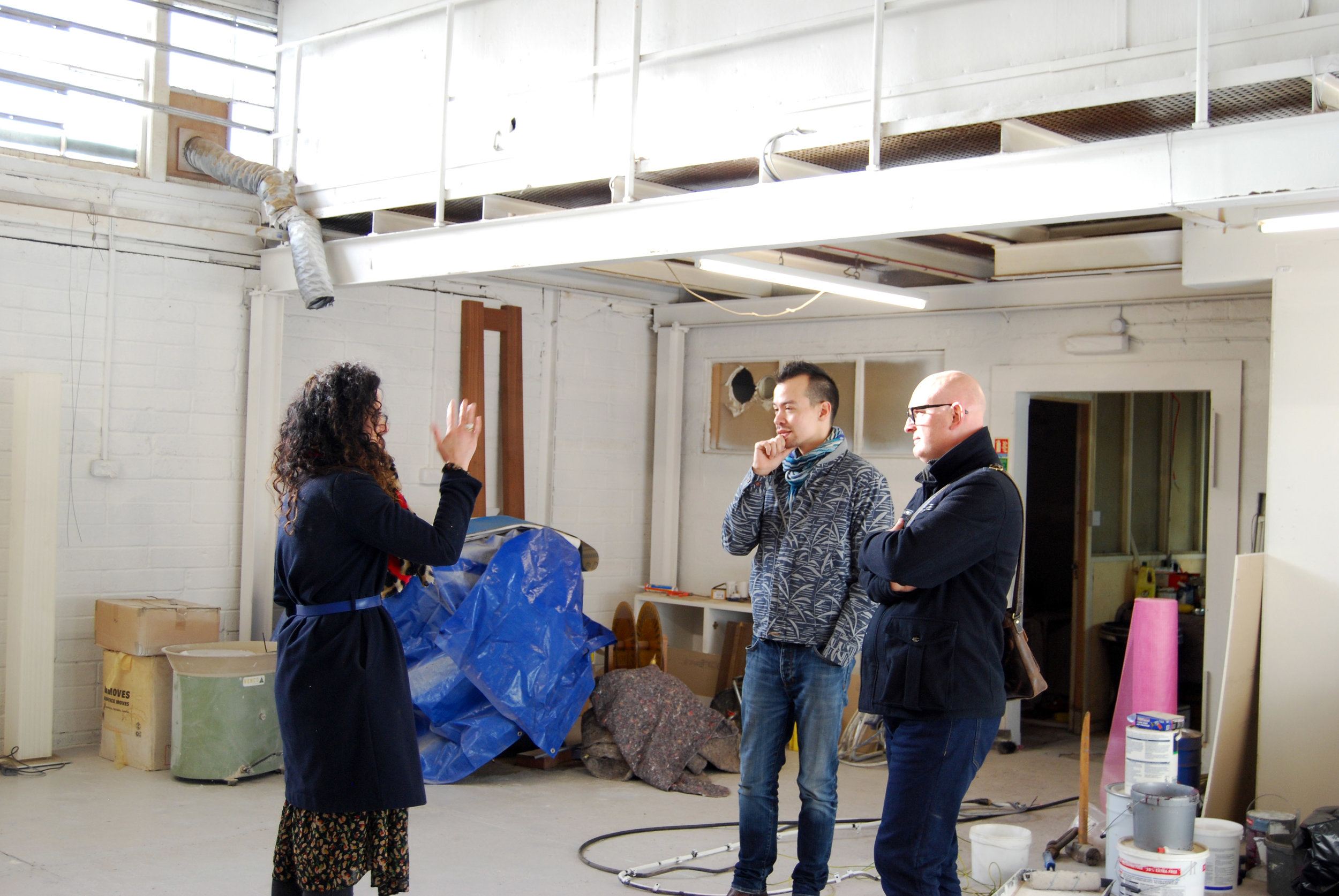 Directors Louise and Dave (and extended Clay Shed family member Barry) in the main tenant's space chatting about clay (most probably).