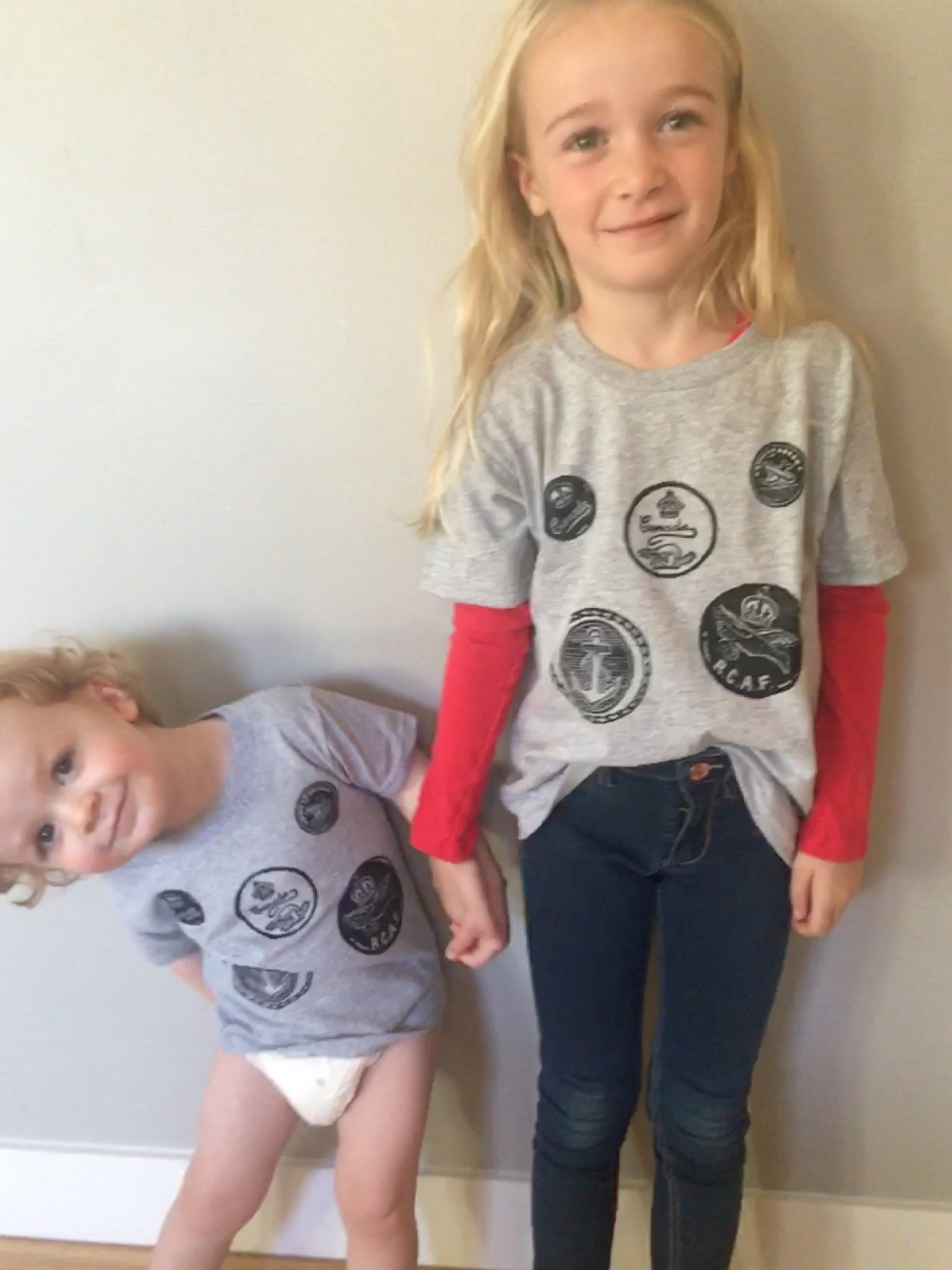 """Henry & Grayson wearing """"RCAF Tribute"""" T-shirts"""