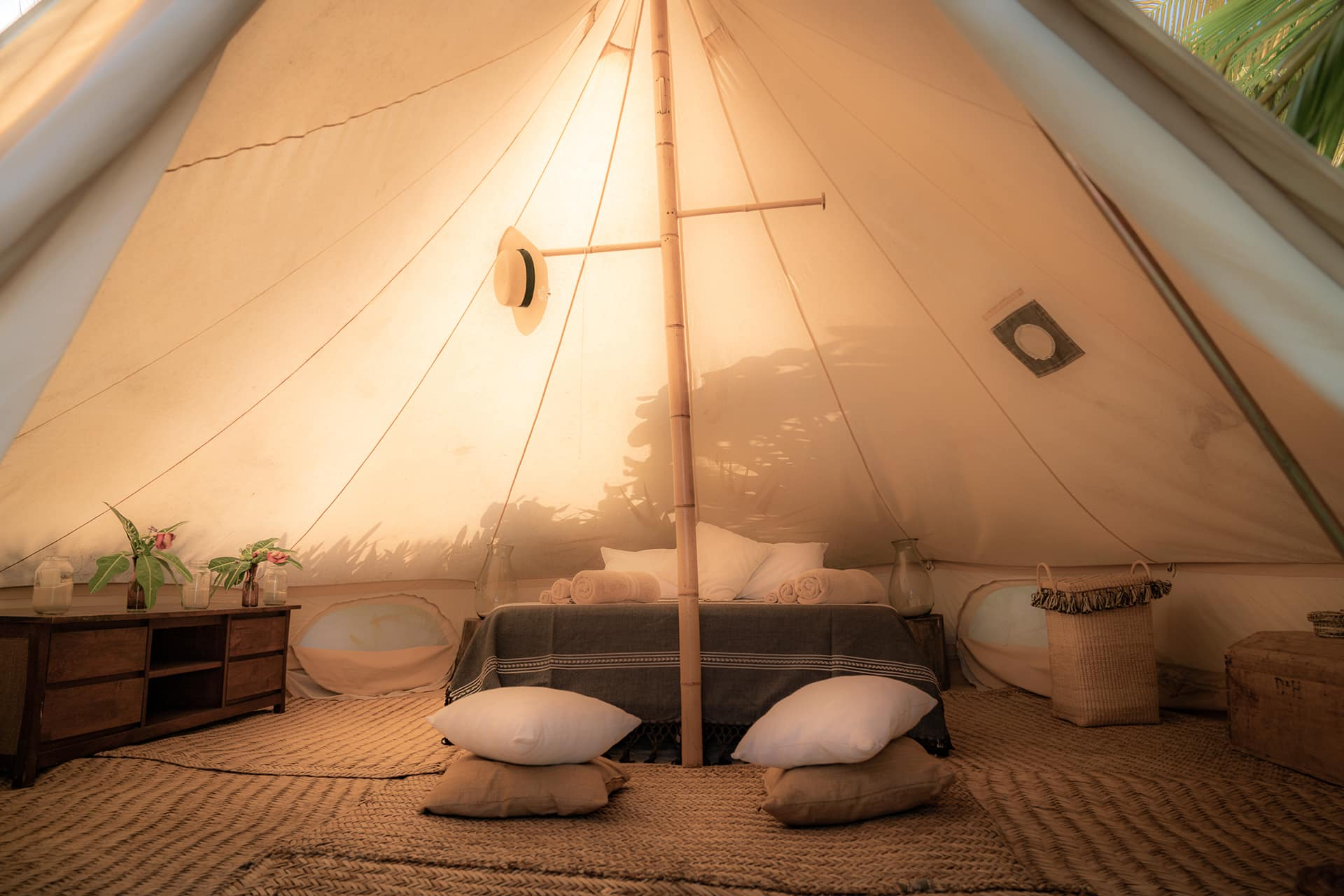 Private Outdoor Glamping Tent - $3050 (4 spots) - Outdoor luxury glamping tent all for yourself in the heart of nature. Tent has queen size bed and ncludes comfortable shared bathrooms and showers. Best option for those who want privacy and magical connection with nature.** Price increases to $3450 after July 15th! **