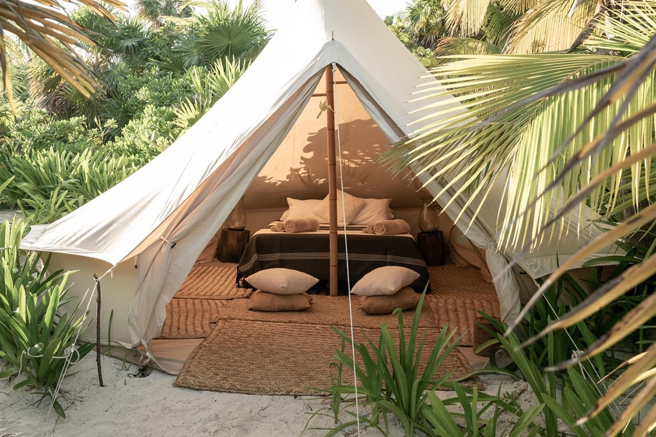 Shared Outdoor Glamping Tent - $2650 (5 spots) - Outdoor luxury glamping tent shared with one other sister. Tent has two single beds and includes comfortable shared bathrooms and showers. Best option for those who like the sleepover vibe and who want the most cost effective room choice.** Price increases to $3050 after July 15th! **