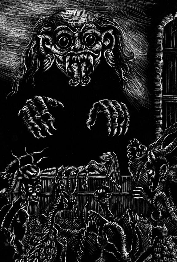 Weirds of the Woodcarver gardner f fox weird tales scratchboard art illustration kurt brugel 01.jpg