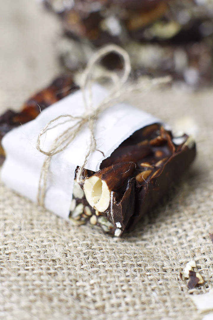 Make a DIY chocolate gift for Valentine's Day! This Chocolate Fig Trail Mix Bark combines crunchy nuts, seeds, coconut and chewy figs for a decadent, healthy dessert.