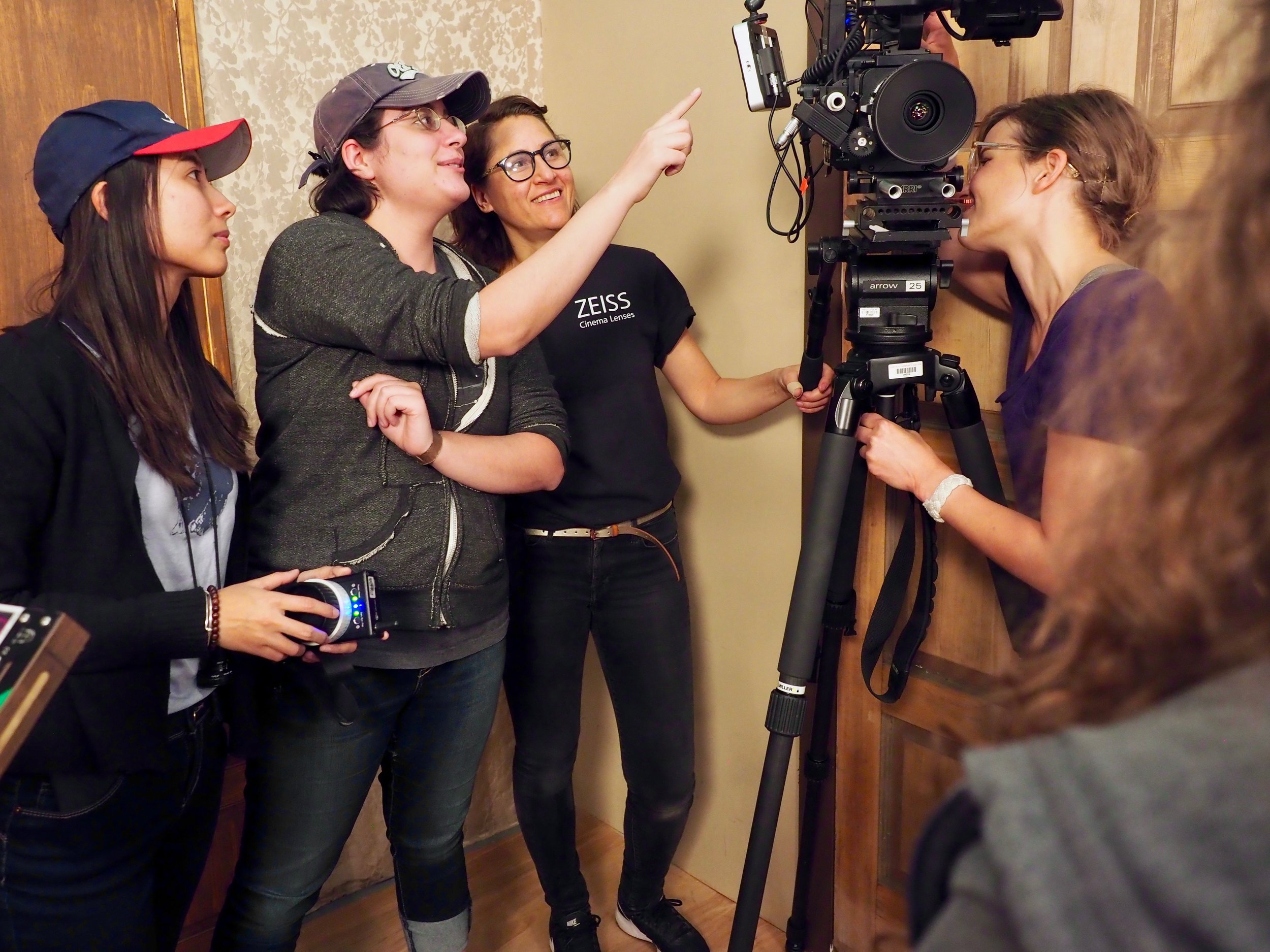 DP Ruochen Bo, Writer/Director Sara Casaus, DP Mentor Diana de Aguinaga, and 1st AC Mentor Jenelle Stafford on the set of Bottled Up.