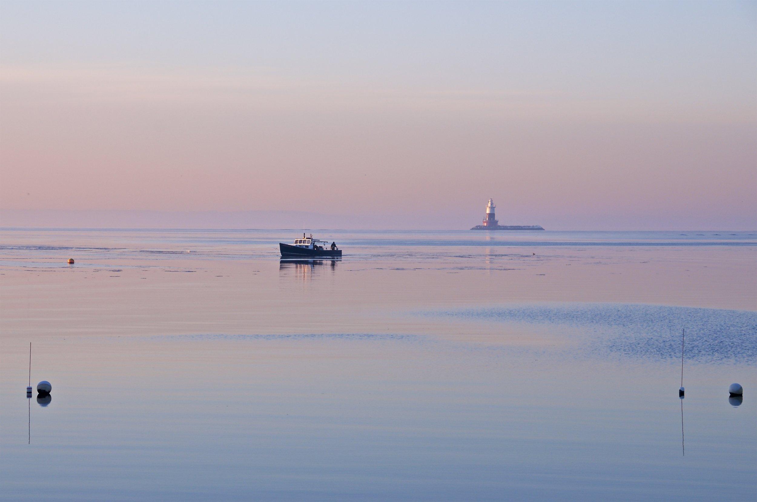 Lobster Boat working Greens' Ledge Lighthouse, Rowayton CT