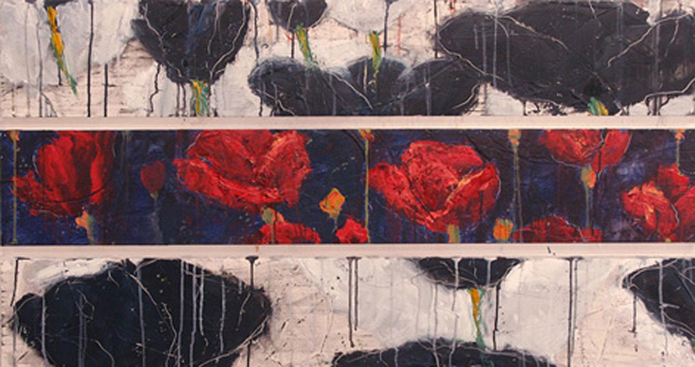 """""""Tripple Poppies"""" 26x48"""" oil on panel"""