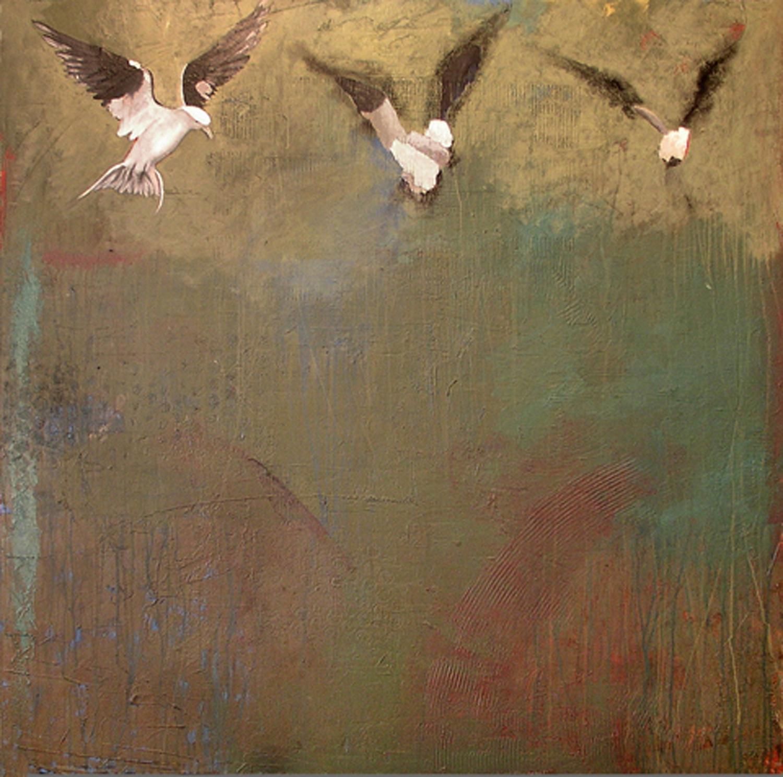 """""""3 Birds"""" oil on panel"""