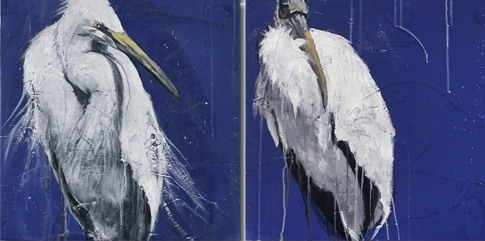 """Twilight Stork"" ""Twilight Egret"" 18x18"" oil on panel"