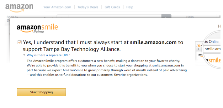 #2 - Check the box that you understand you must start at smile.amazon.com when doing your shopping on Amazon.