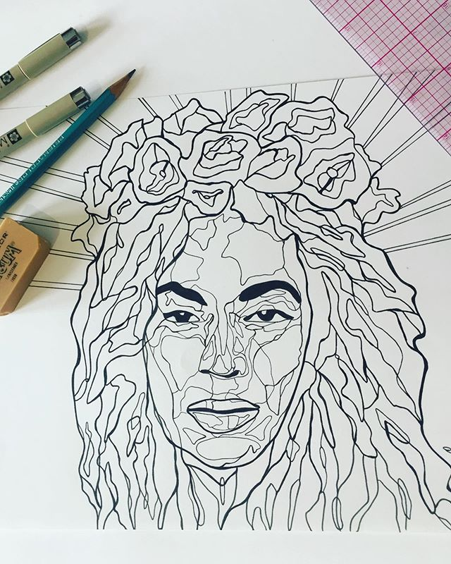 Queen B on a Sunday. This will be my last drawing in this style. I love the outcome of my work but I have not been enjoying the process. It is tedious and meticulous - it feeds the perfectionist, but there's no glory there, it's just the ego wanting. For me, where there is perfectionism, there is little joy. It is time for an entirely new style to spring forth and I am very looking forward to see what comes! Just a reminder to those who need it: you don't have to keep doing something just because you're good at it. Let it be the something that guides you to an unknown magnificent door within - and make sure you're not too afraid to open it. Excited to share my painting journey with you all. ♡ ∞ ♡ • • • #art #artist #denverscene #denversbest #colorado #beyonce #queenb #portrait #queenmother #coloradoartist #denverart #coloringbook #illustrator #illustration #blacklinework #smallbusiness #denverlocal #femaleowned #womanowned #entreprenuer #allisoncollinsart #joynotperfection • • • ⋆⋆⋆I will still share art I've previously made in this style.