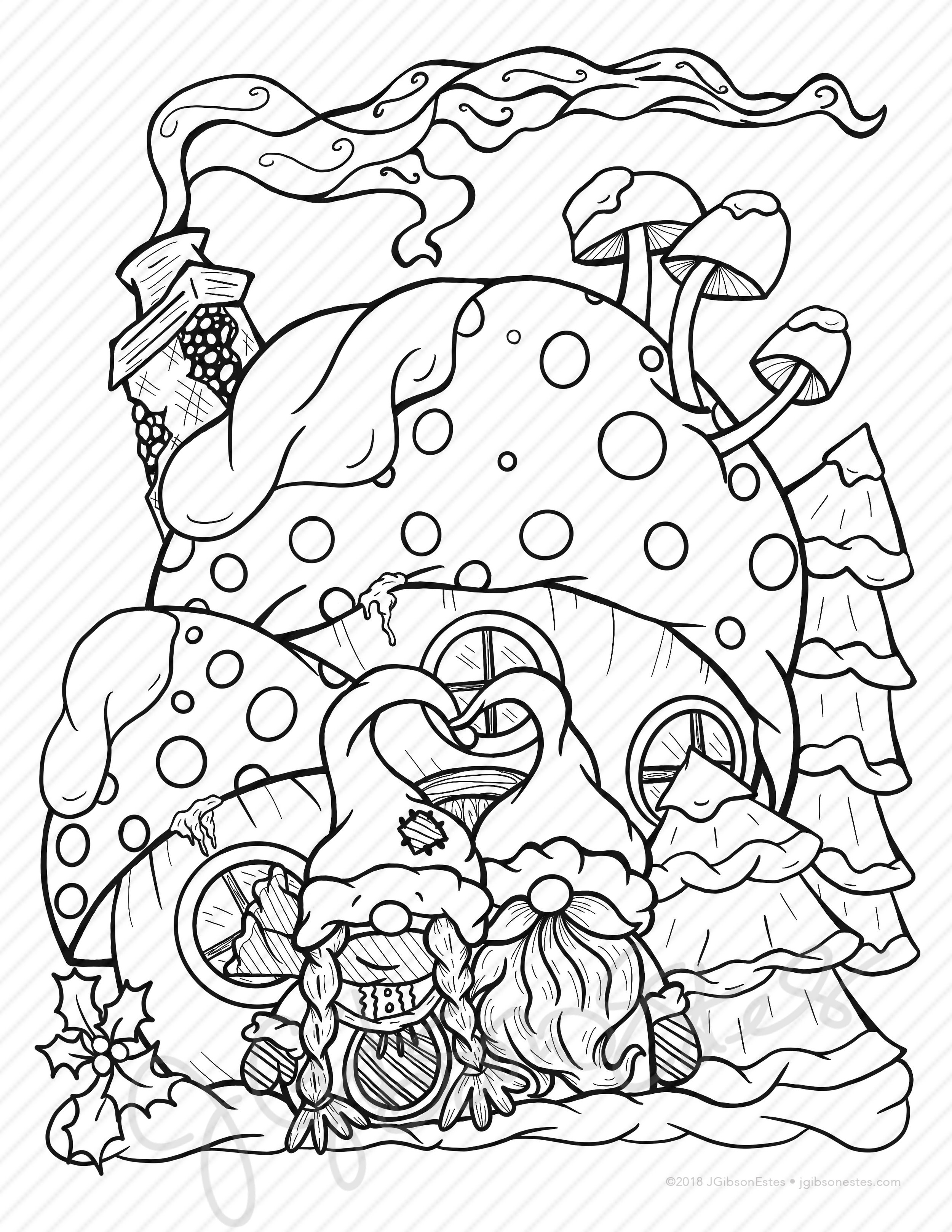Gnome For The Holidays Printable Christmas Coloring Page And Digital Stamp J Gibson Estes
